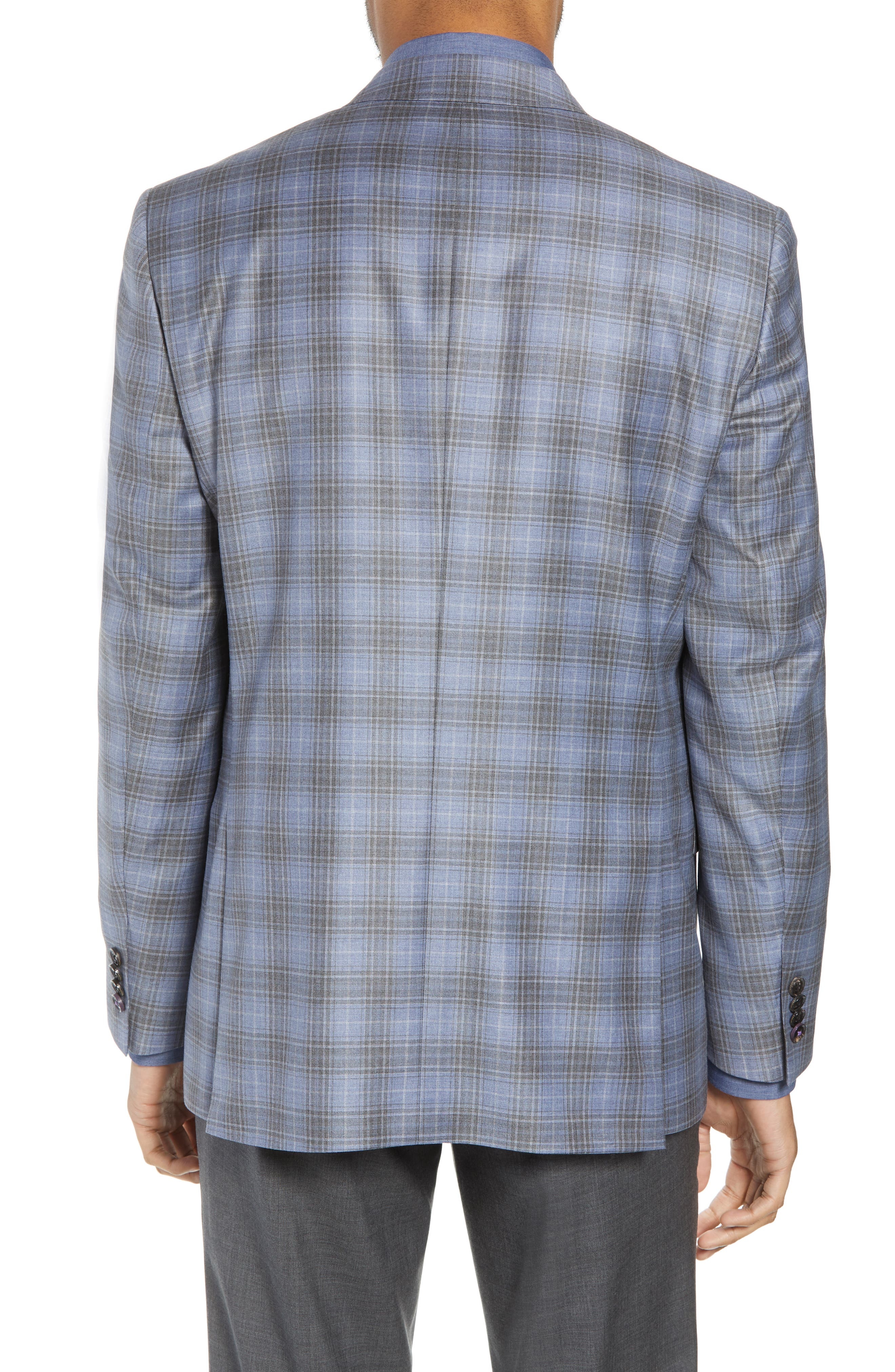 Jay Trim Fit Plaid Wool Sport Coat,                             Alternate thumbnail 2, color,                             Light Blue
