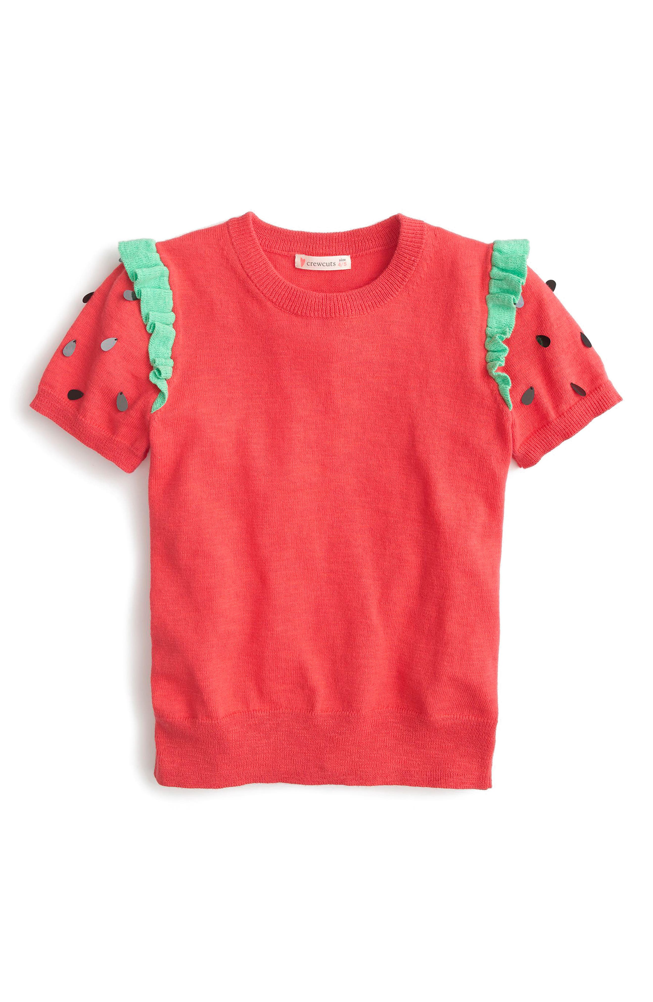 J.Crew Strawberry Goodness Short Sleeve Sweater,                             Main thumbnail 1, color,                             Red Green Multi