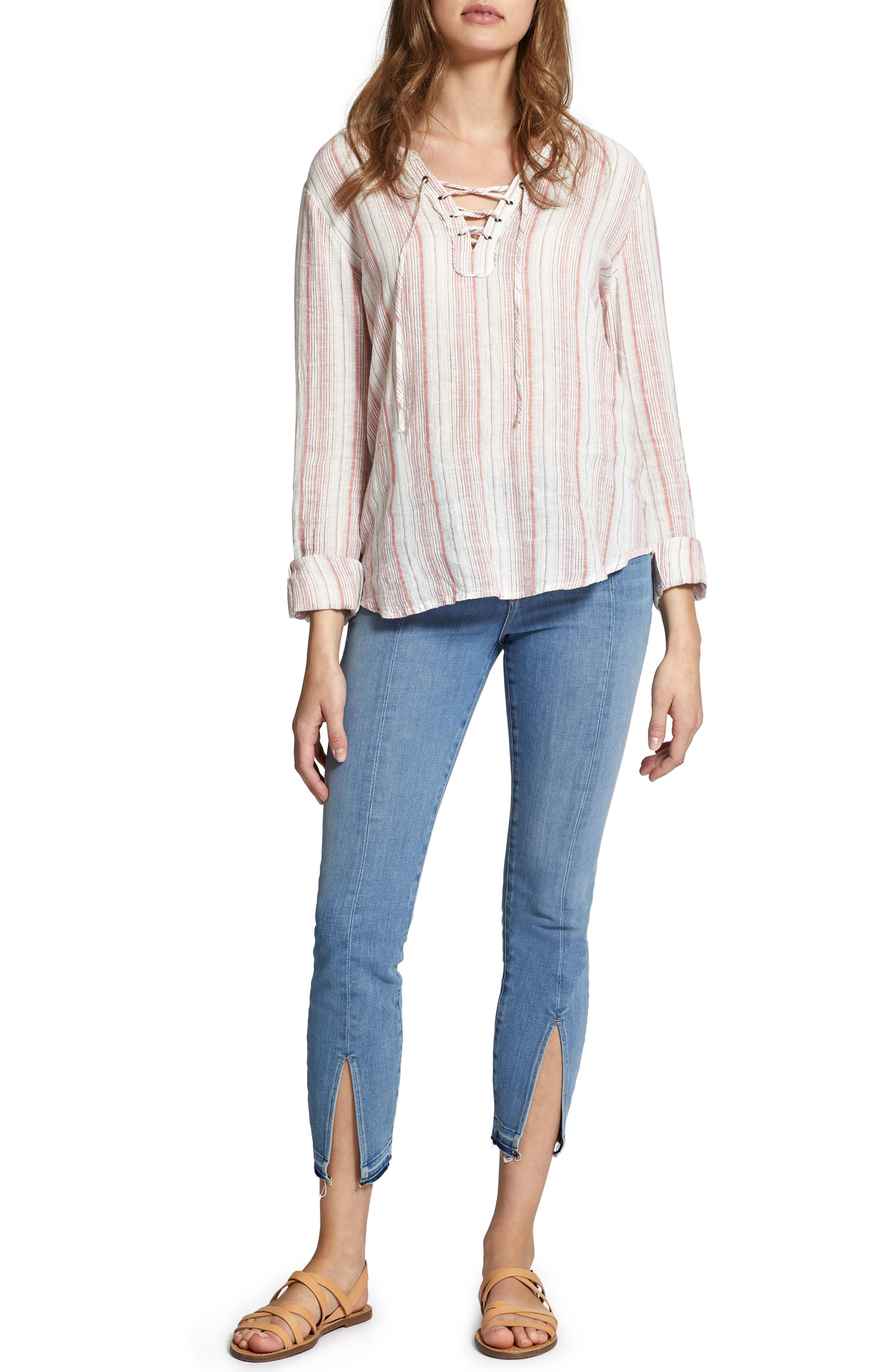 Tommie Lace-Up Stripe Shirt,                             Alternate thumbnail 4, color,                             Desert Stripe