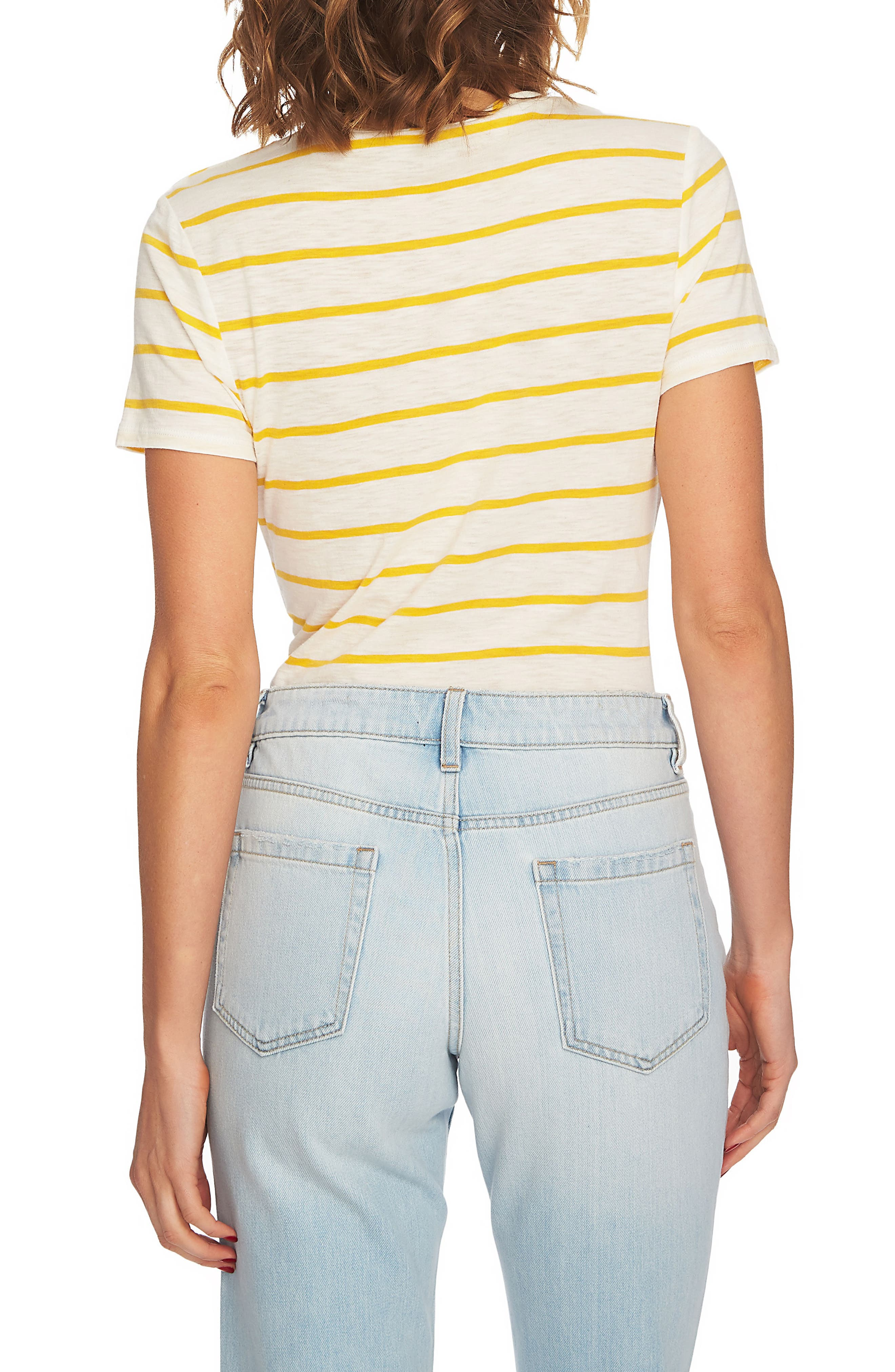 Stripe Twist Front Short Sleeve Tee,                             Alternate thumbnail 2, color,                             Rich Marigold