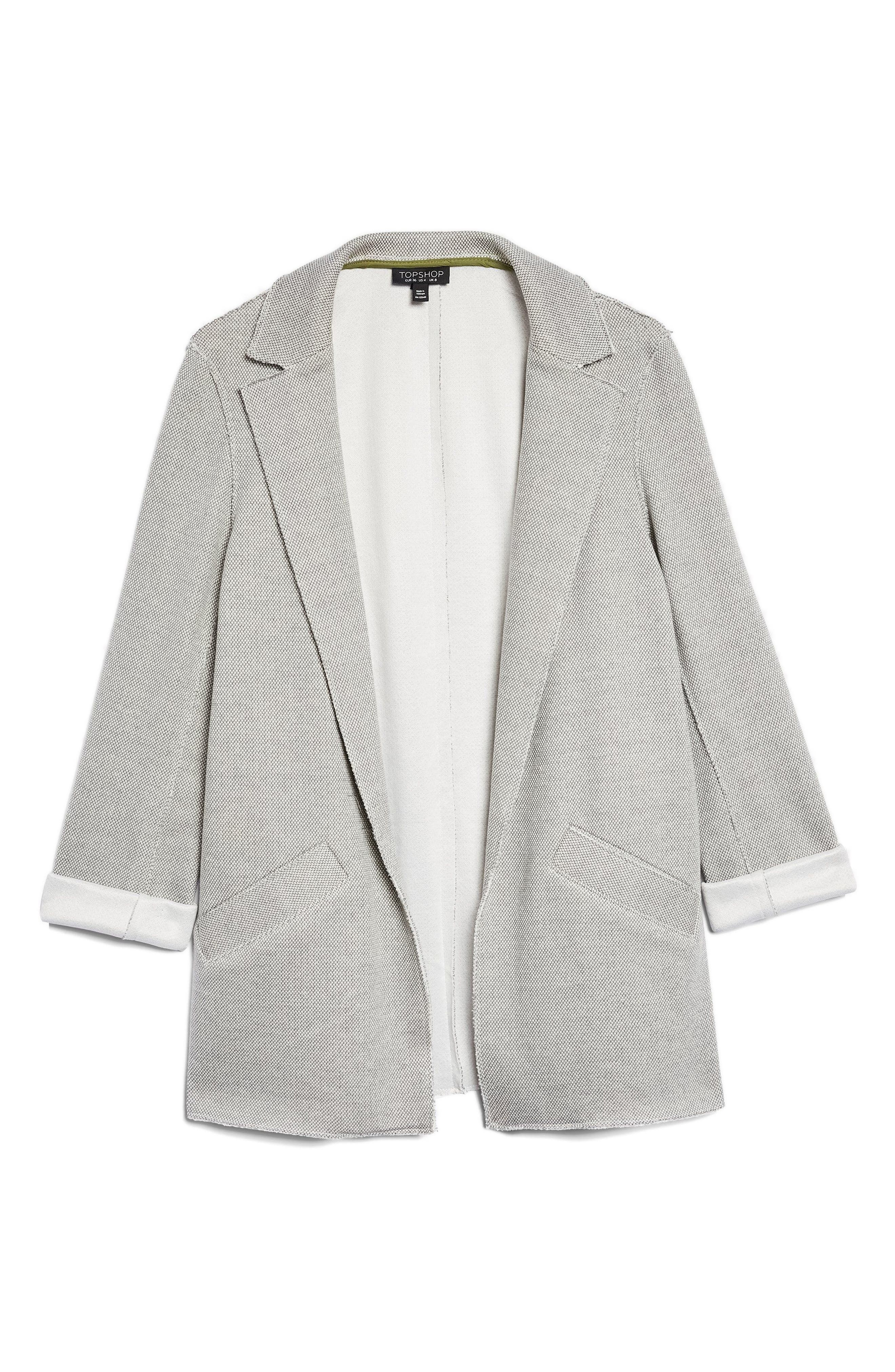 Deconcrusted Jersey Blazer,                             Alternate thumbnail 5, color,                             Grey