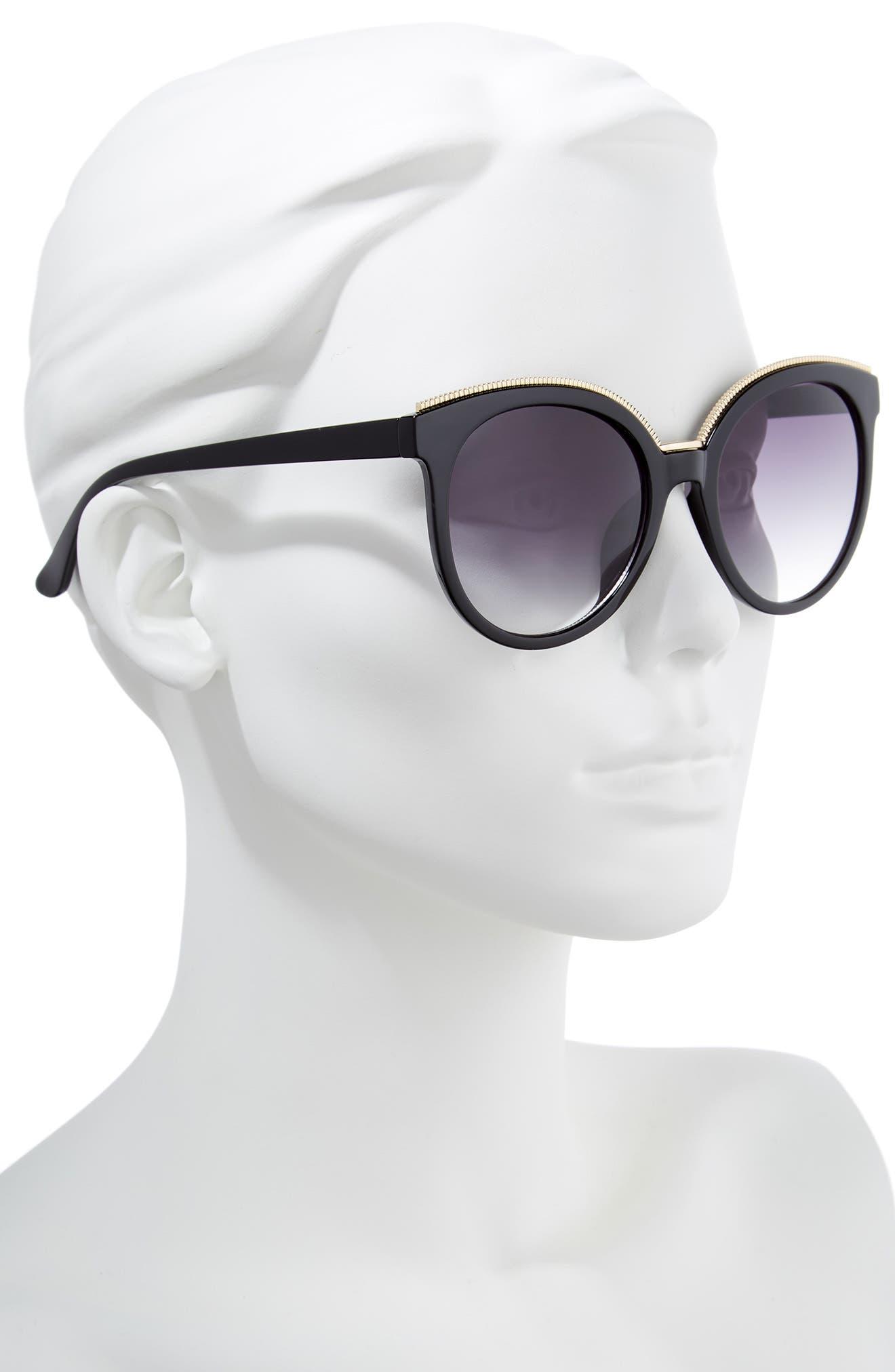 56mm Metal Trim Round Sunglasses,                             Alternate thumbnail 2, color,                             Black/ Gold