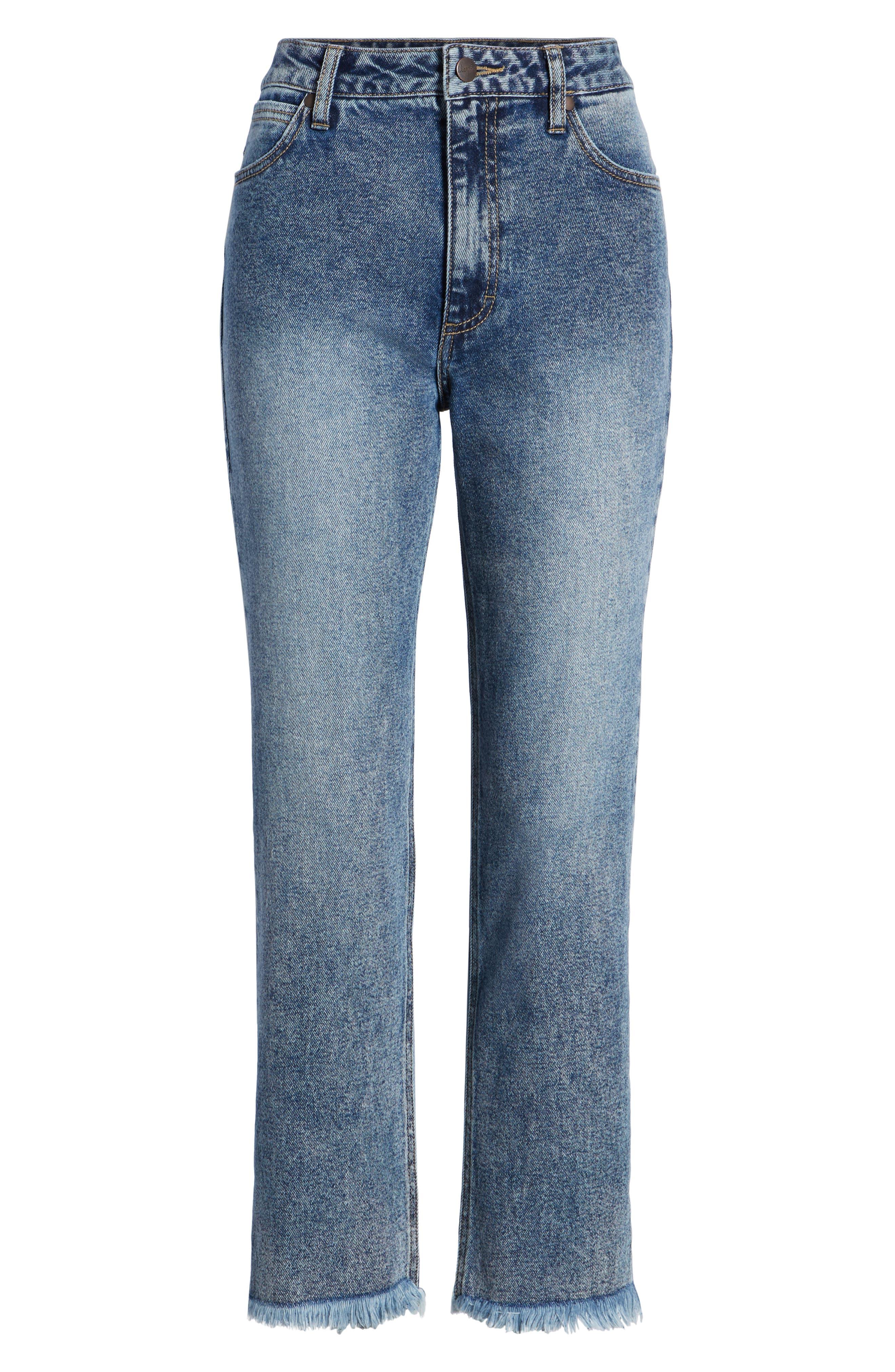 Acid Wash High Waist Crop Jeans,                             Alternate thumbnail 6, color,                             Dark Acid