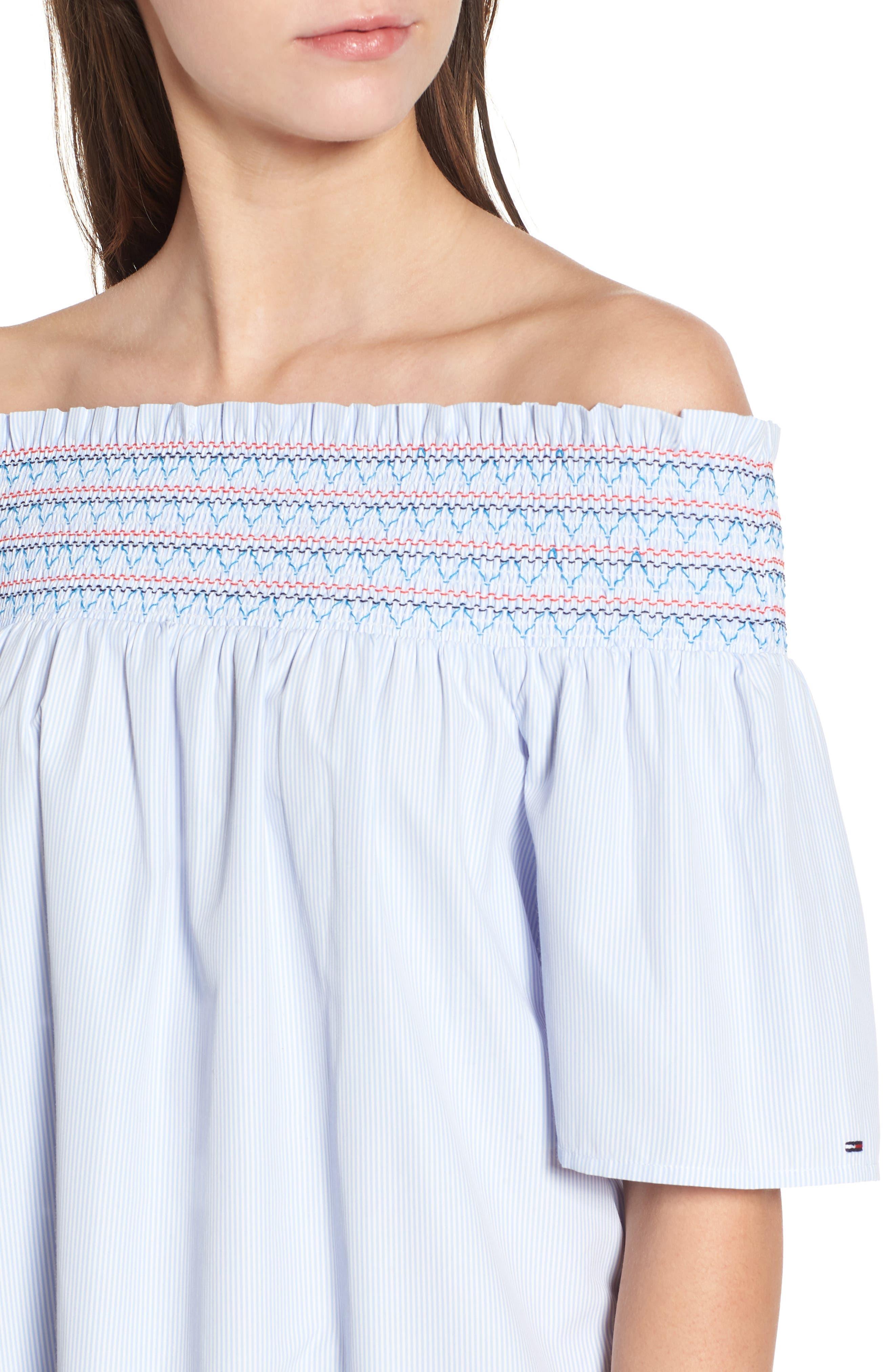Smocked Off the Shoulder Dress,                             Alternate thumbnail 4, color,                             Bright White / Serenity