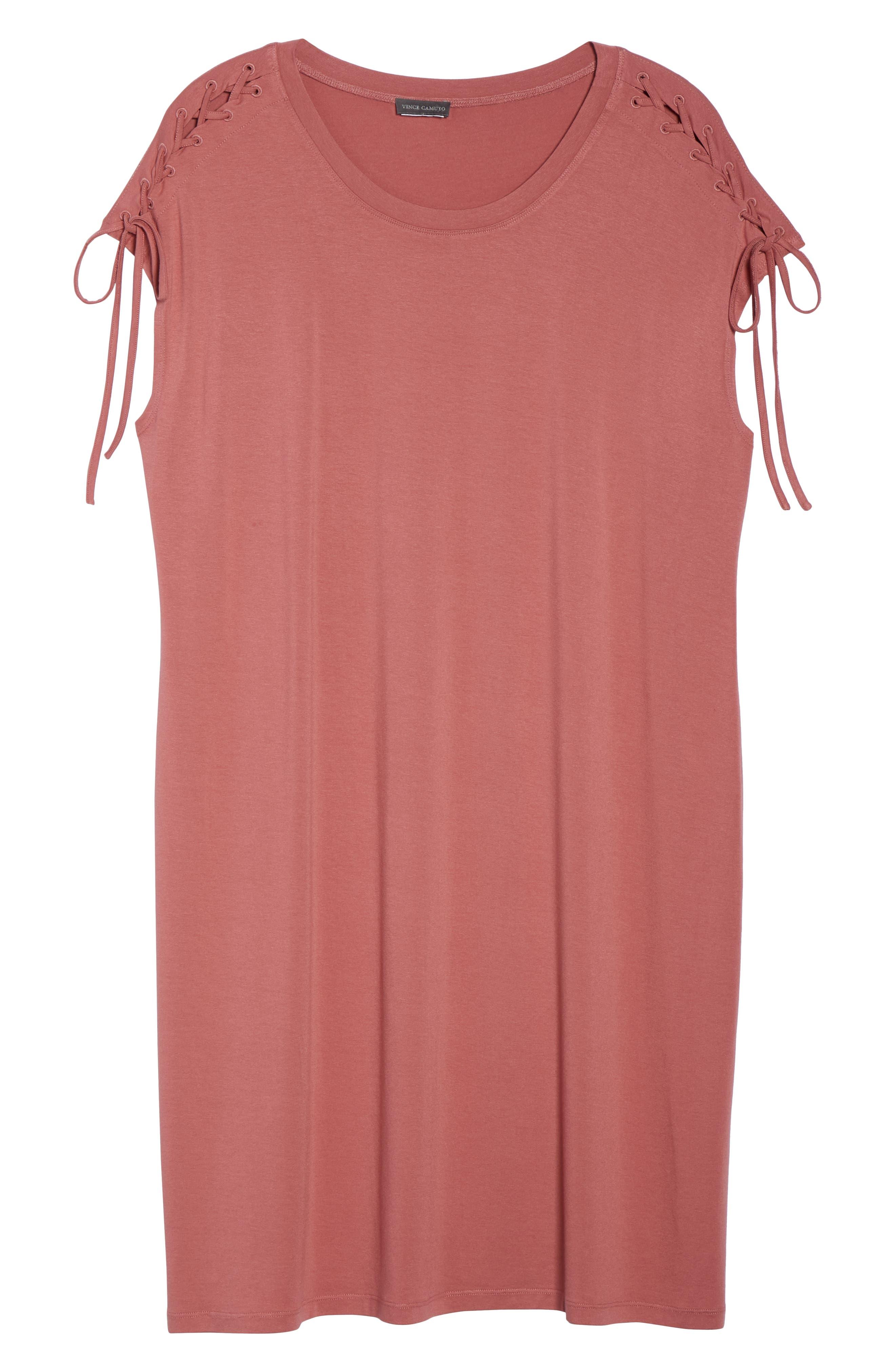 Lace-Up Shoulder T-Shirt Dress,                             Alternate thumbnail 7, color,                             Claret Shadow