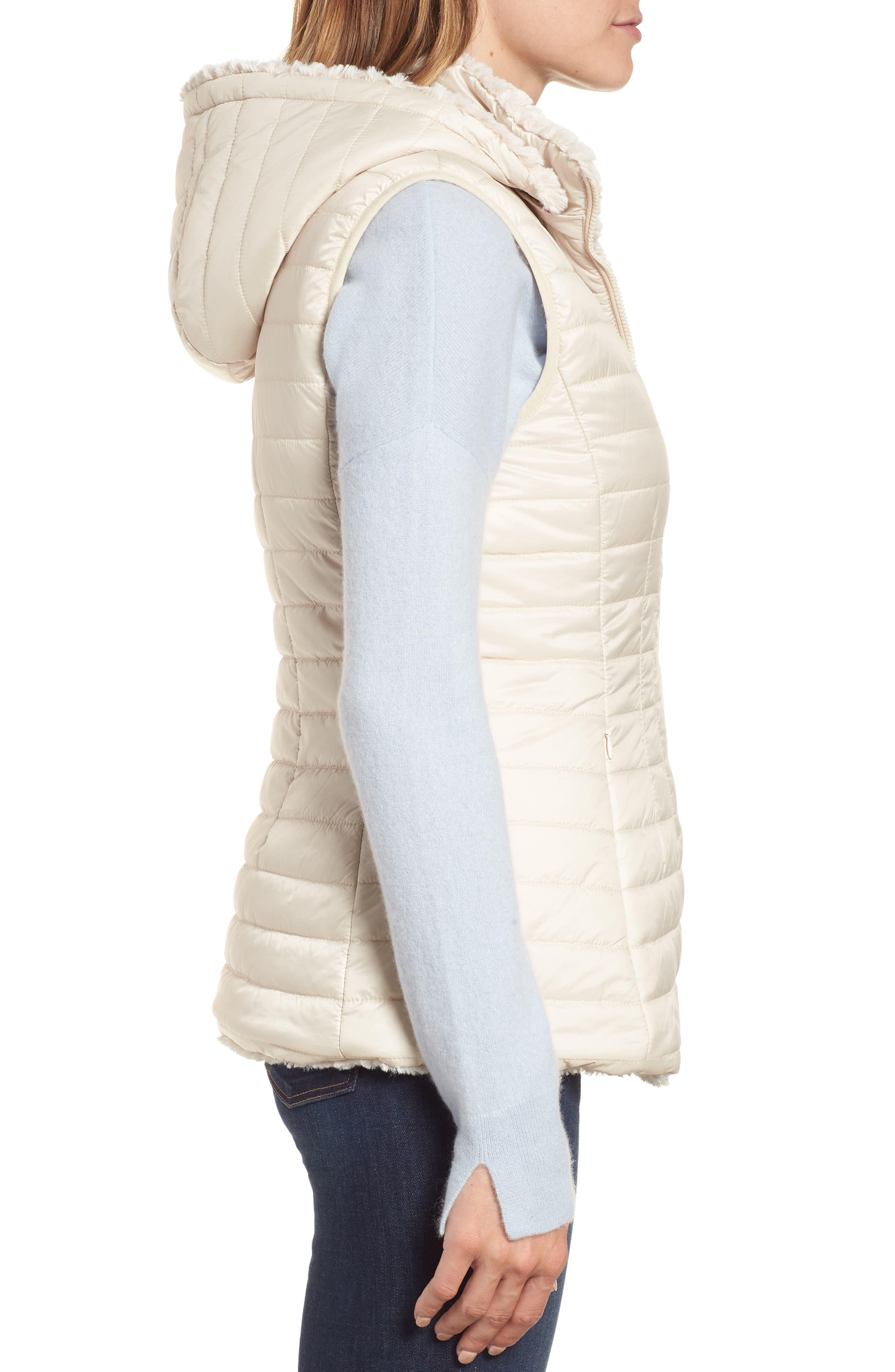 Faux Fur Reversible Hooded Vest,                             Alternate thumbnail 4, color,                             Custard