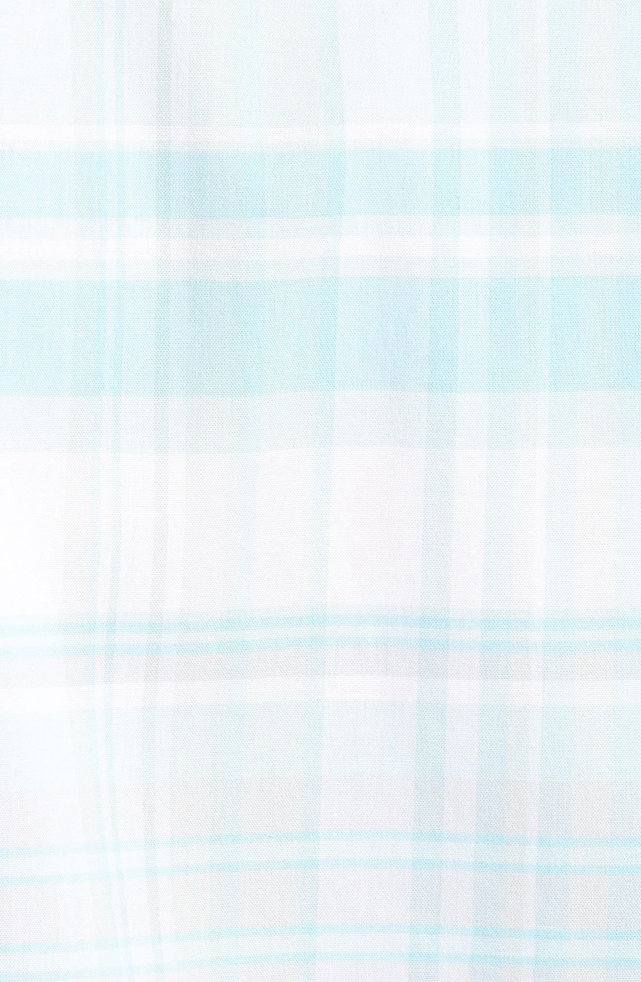 Trim Fit Plaid Sport Shirt,                             Alternate thumbnail 5, color,                             Blue Orydalis Teal Plaid