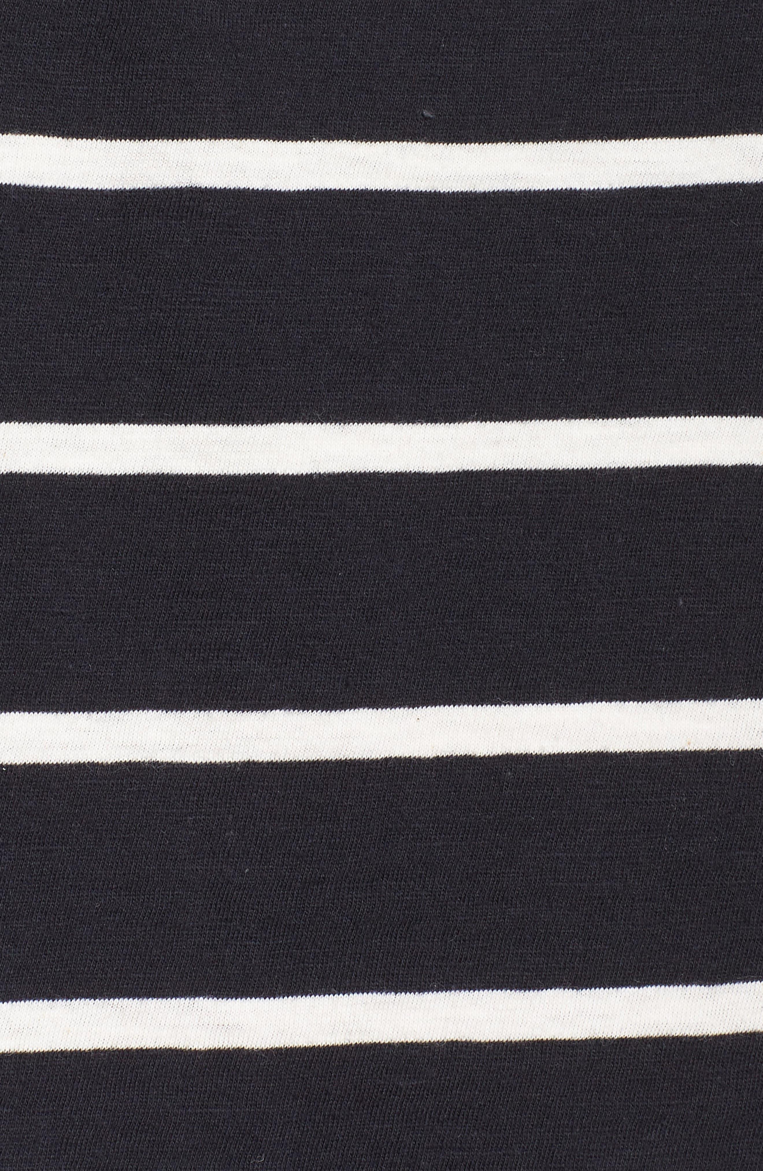 Stripe Organic Cotton Top,                             Alternate thumbnail 6, color,                             Black/ White