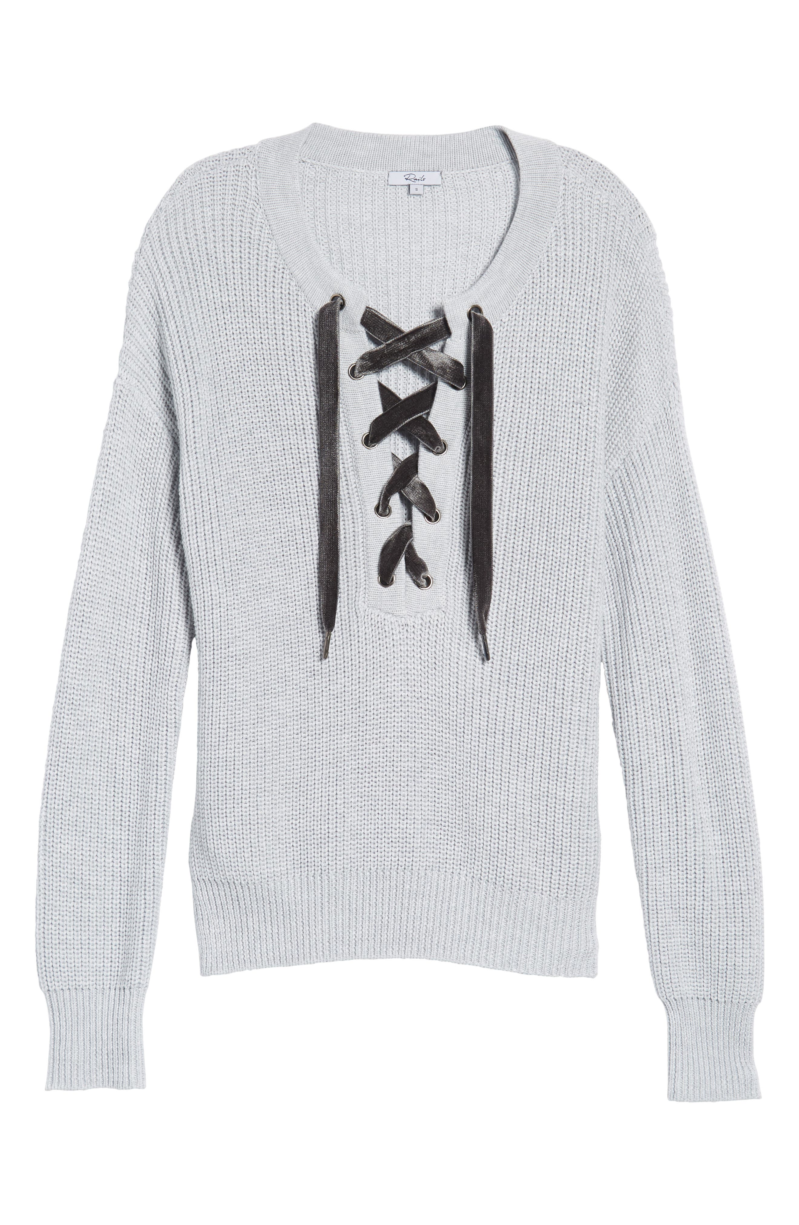 Olivia Lace-Up Sweater,                             Alternate thumbnail 6, color,                             Heather Grey