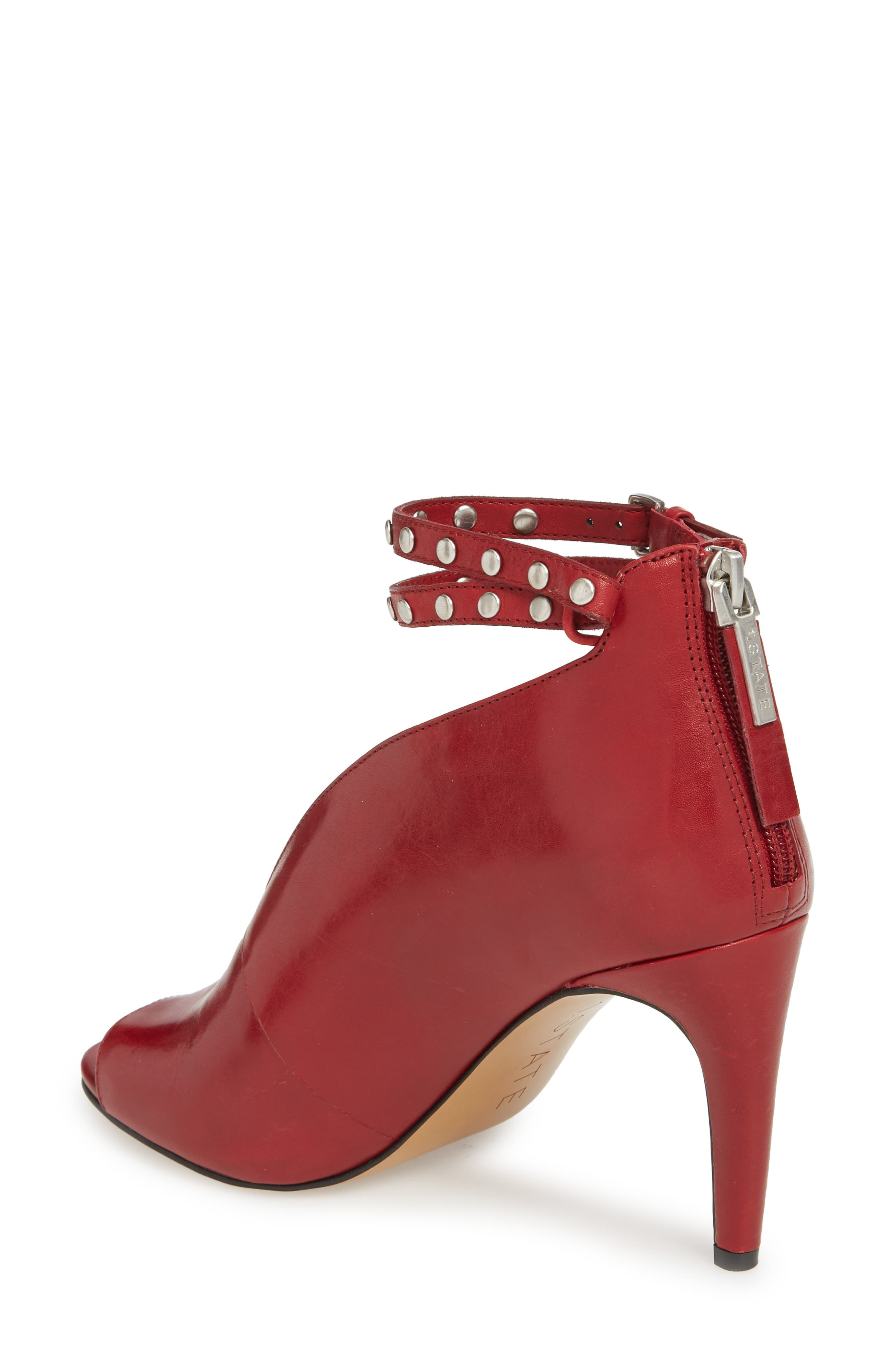 1. STATE Sall Ankle Strap Open Toe Pump,                             Alternate thumbnail 2, color,                             Scarlet Leather