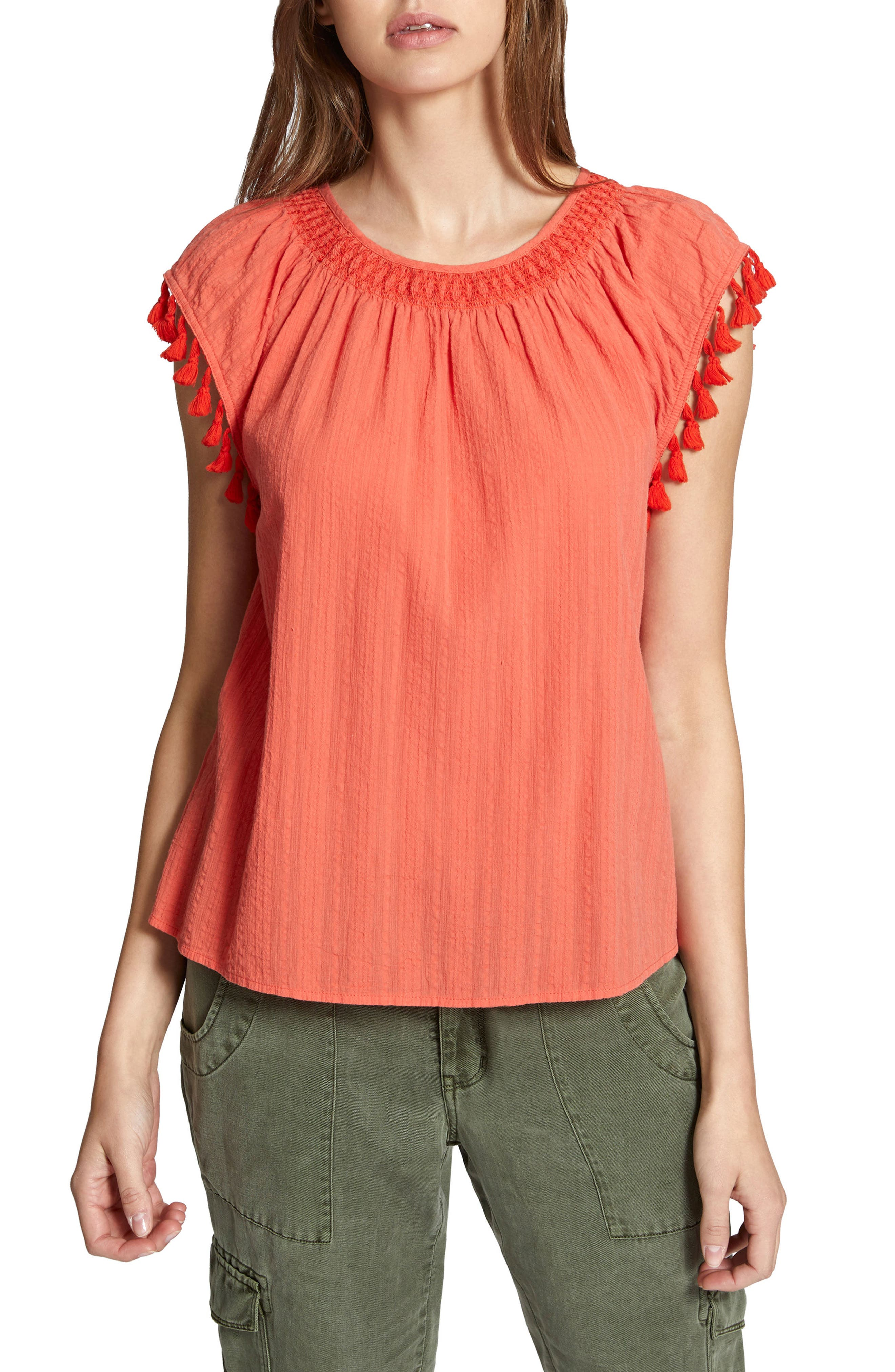 Gobi Tassel Top,                         Main,                         color, Chili