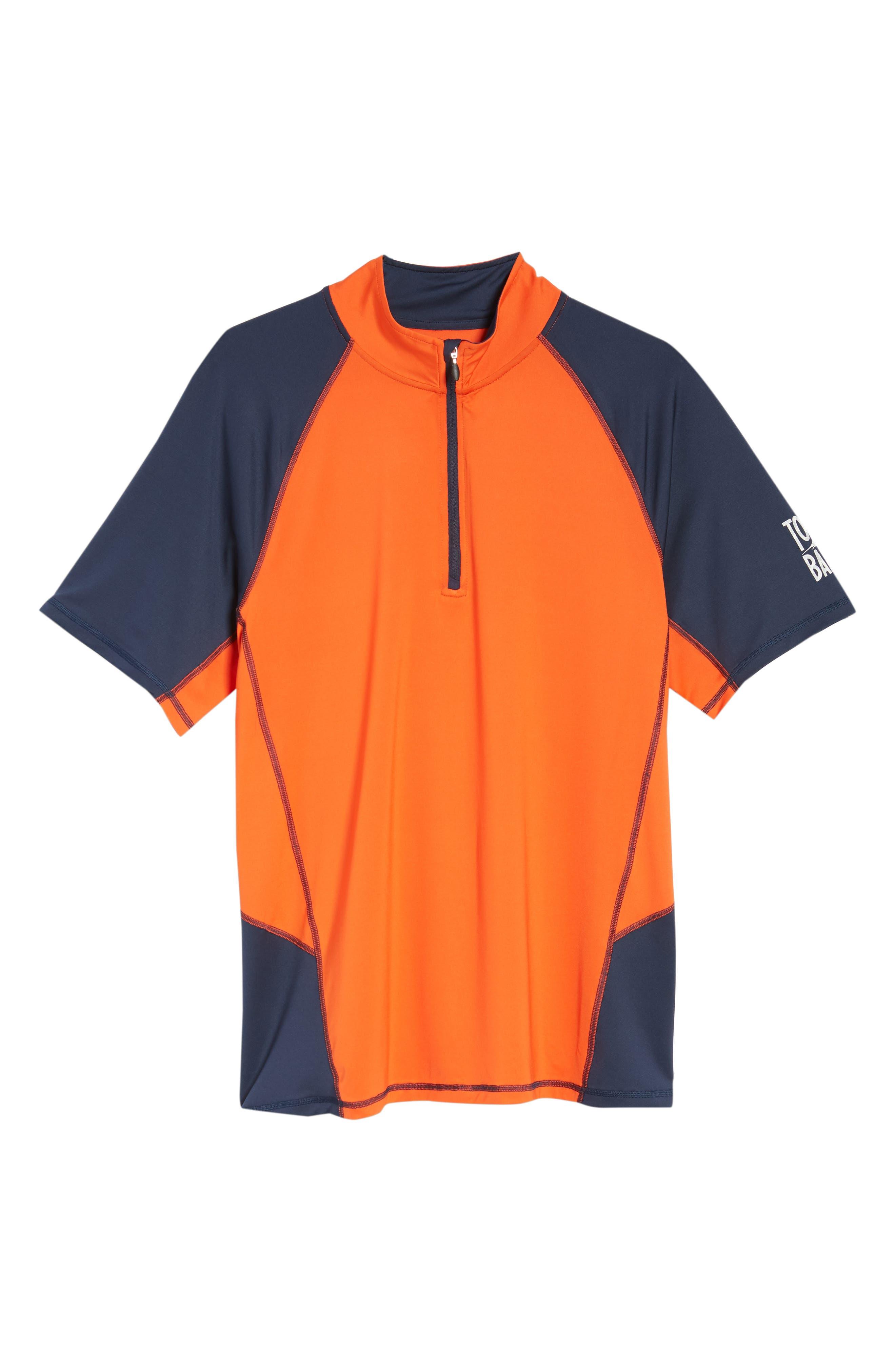 IslandActive<sup>™</sup> Colorblock Beach Pro Rashguard T-Shirt,                             Alternate thumbnail 6, color,                             Fire Orange