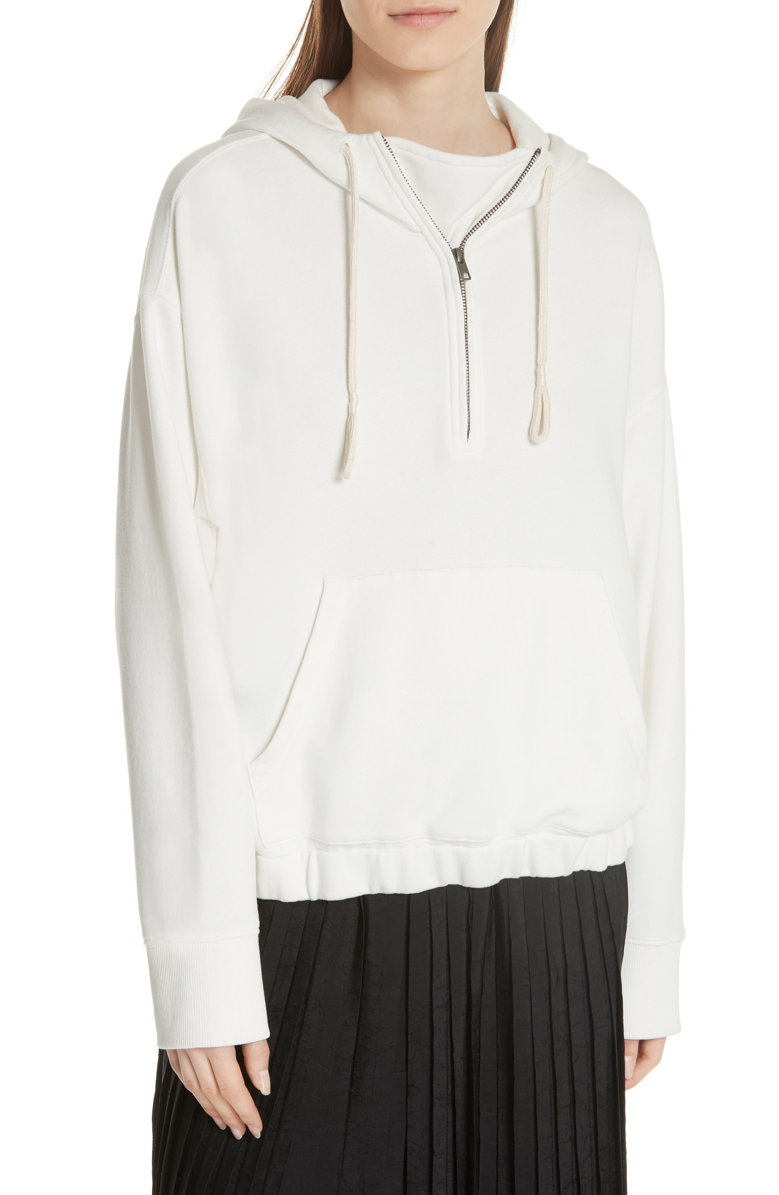 Half-Zip Hoodie,                         Main,                         color, Off White