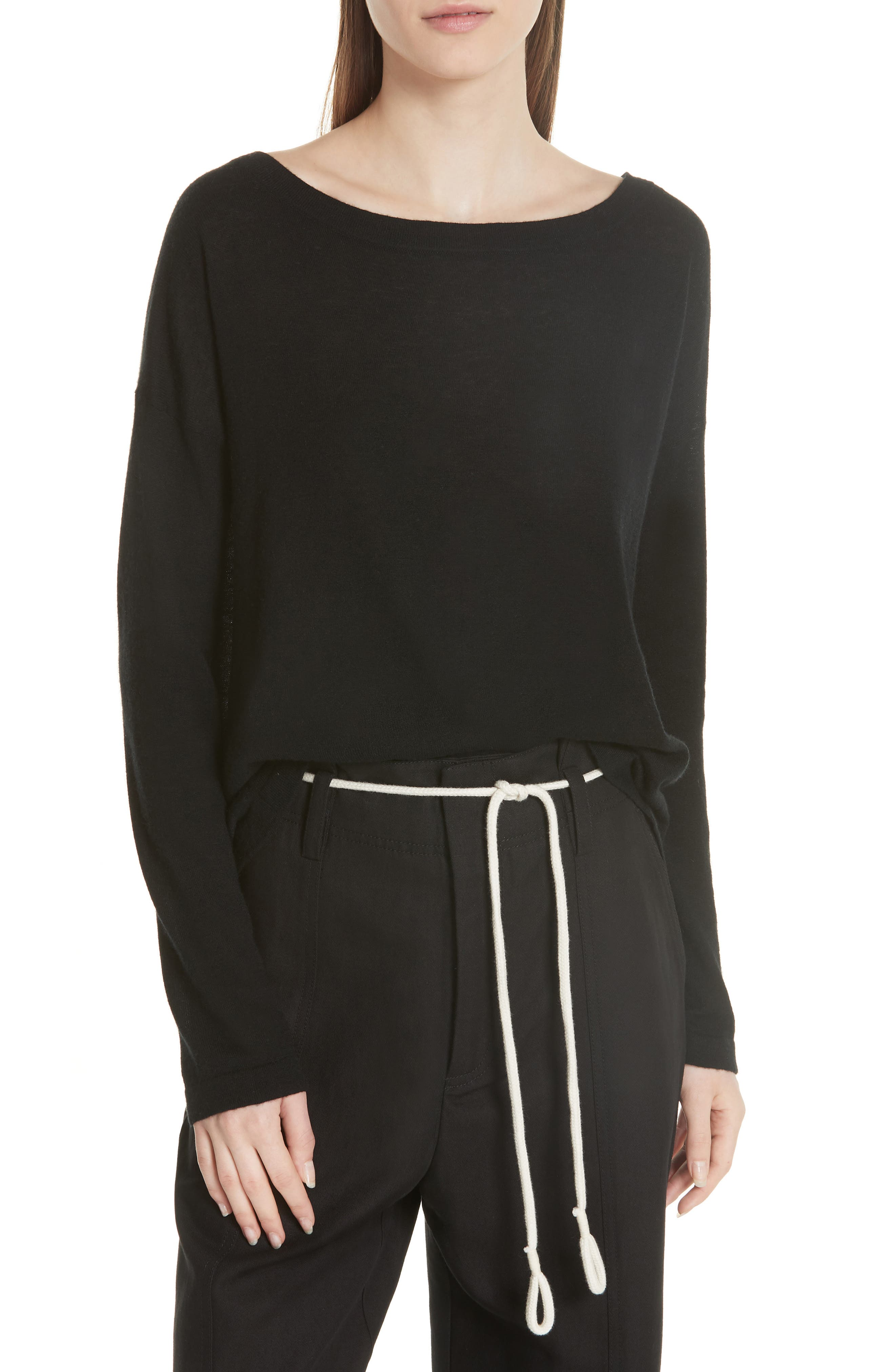 Cinched Back Cashmere Sweater,                             Main thumbnail 1, color,                             Black