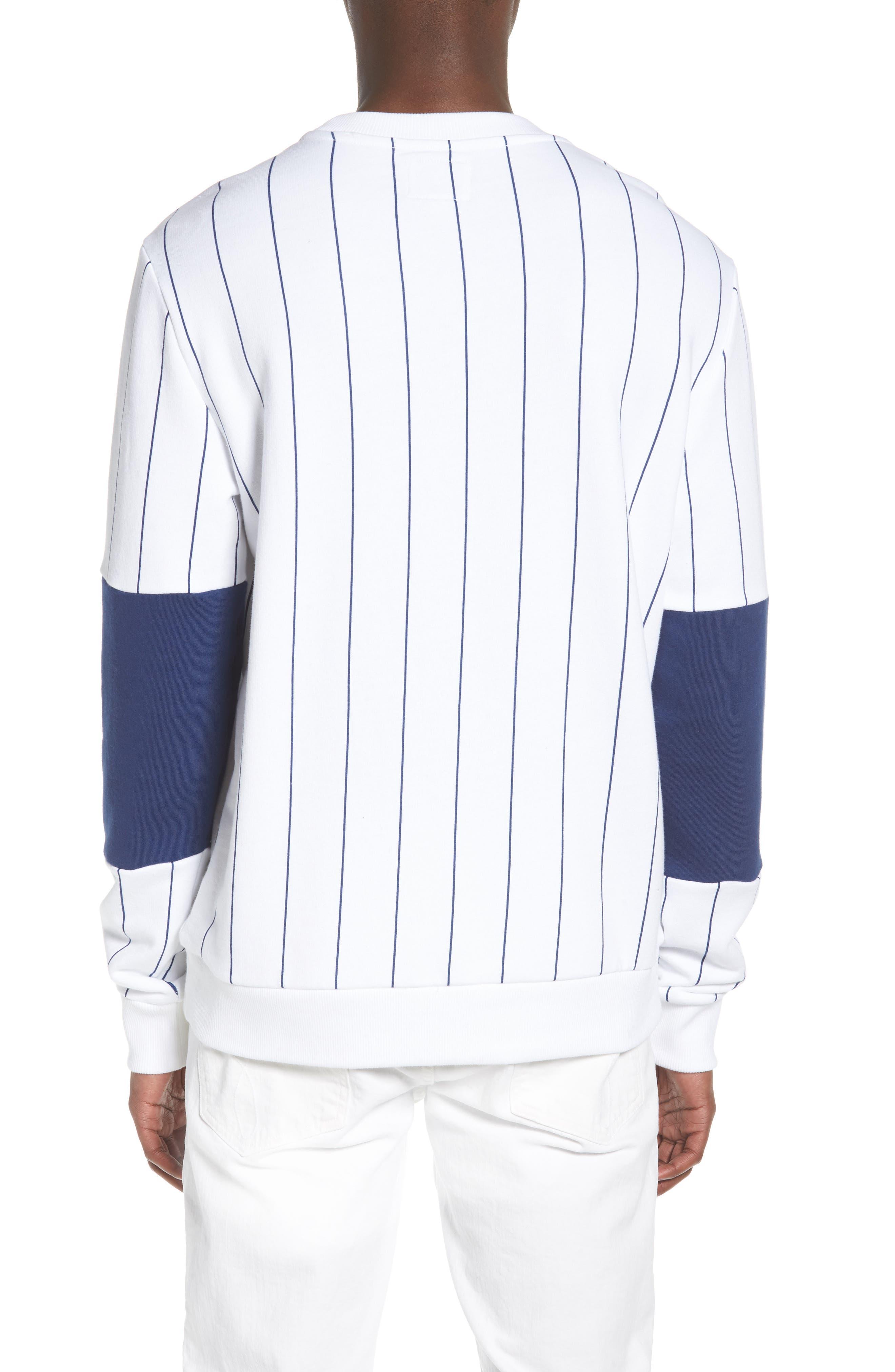 Stripe Blocked Sweatshirt,                             Alternate thumbnail 2, color,                             Standard White