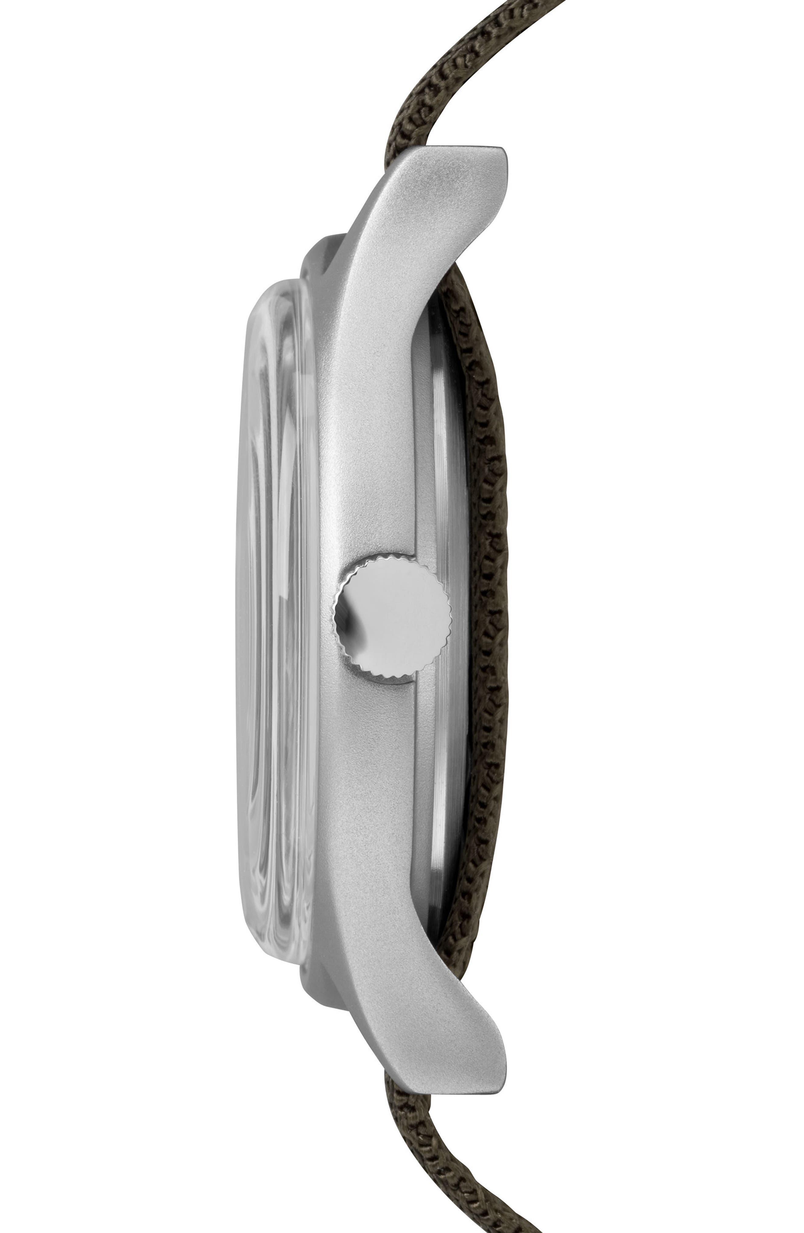 MK1 Nylon Strap Watch, 40mm,                             Alternate thumbnail 2, color,                             Olive/ White/ Silver