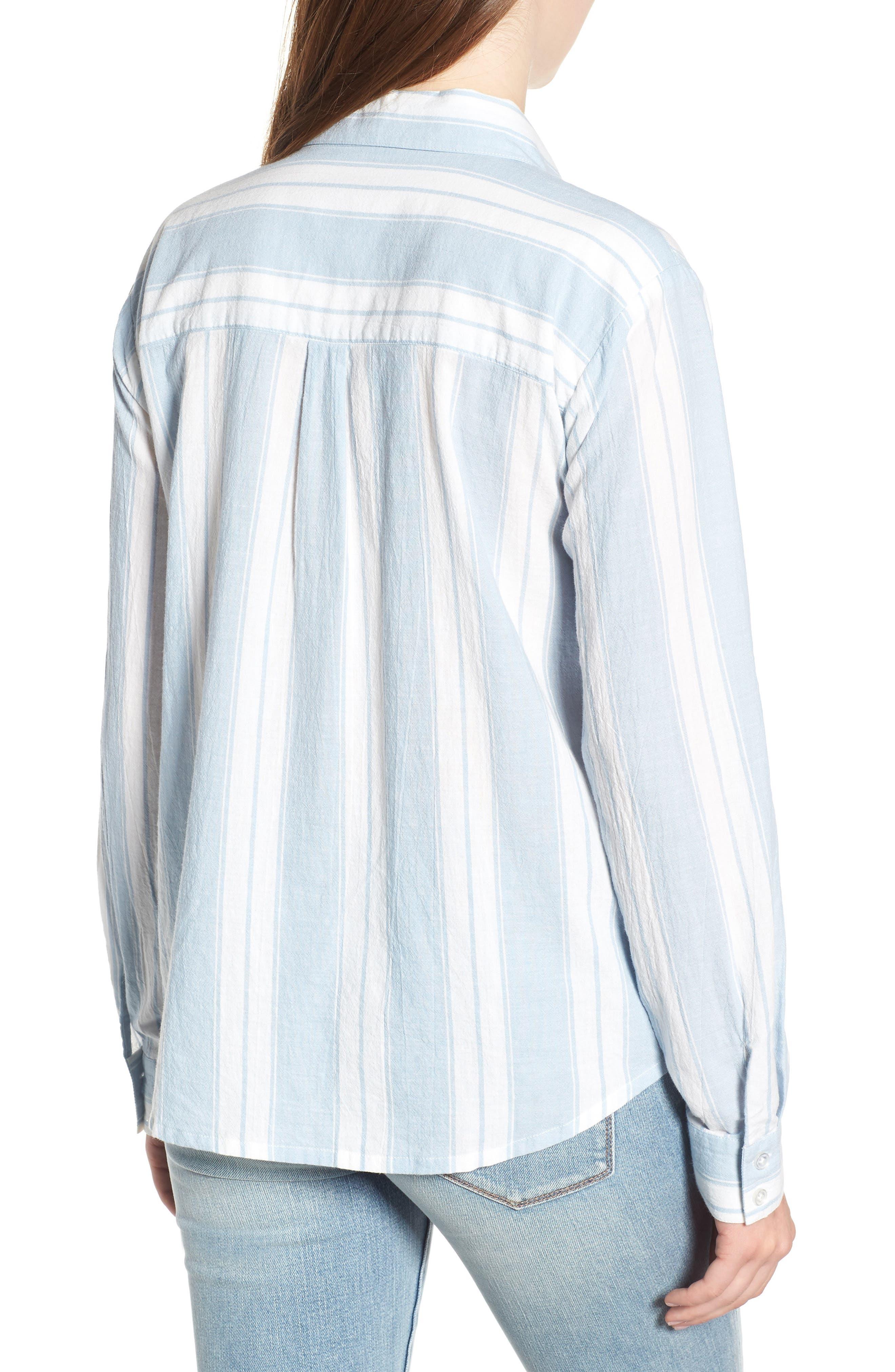 Bleach Stripe Chambray Top,                             Alternate thumbnail 2, color,                             Blue/ White