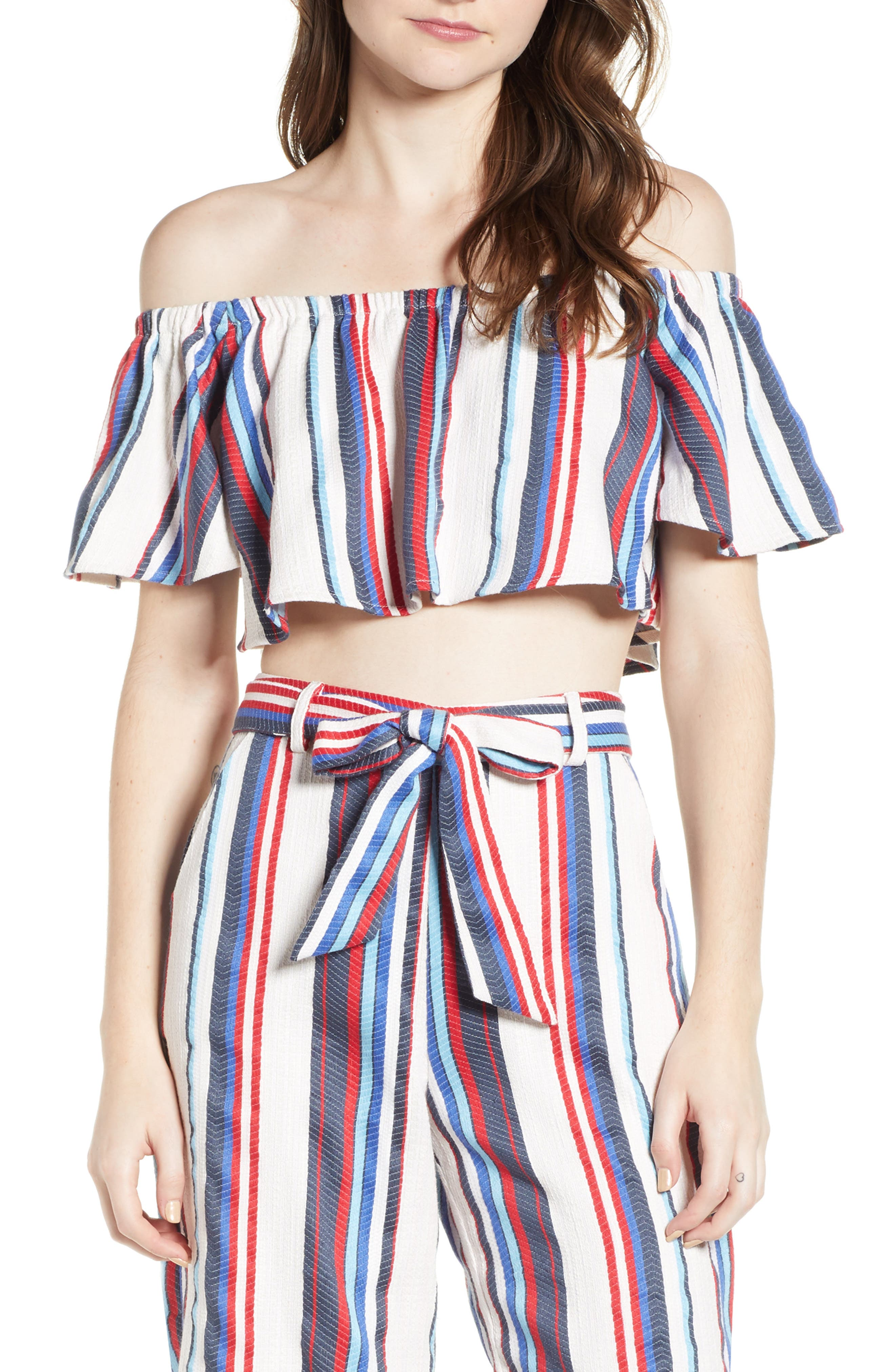 Azul Stripe Off the Shoulder Crop Top,                             Main thumbnail 1, color,                             Blue/ Red Stripe