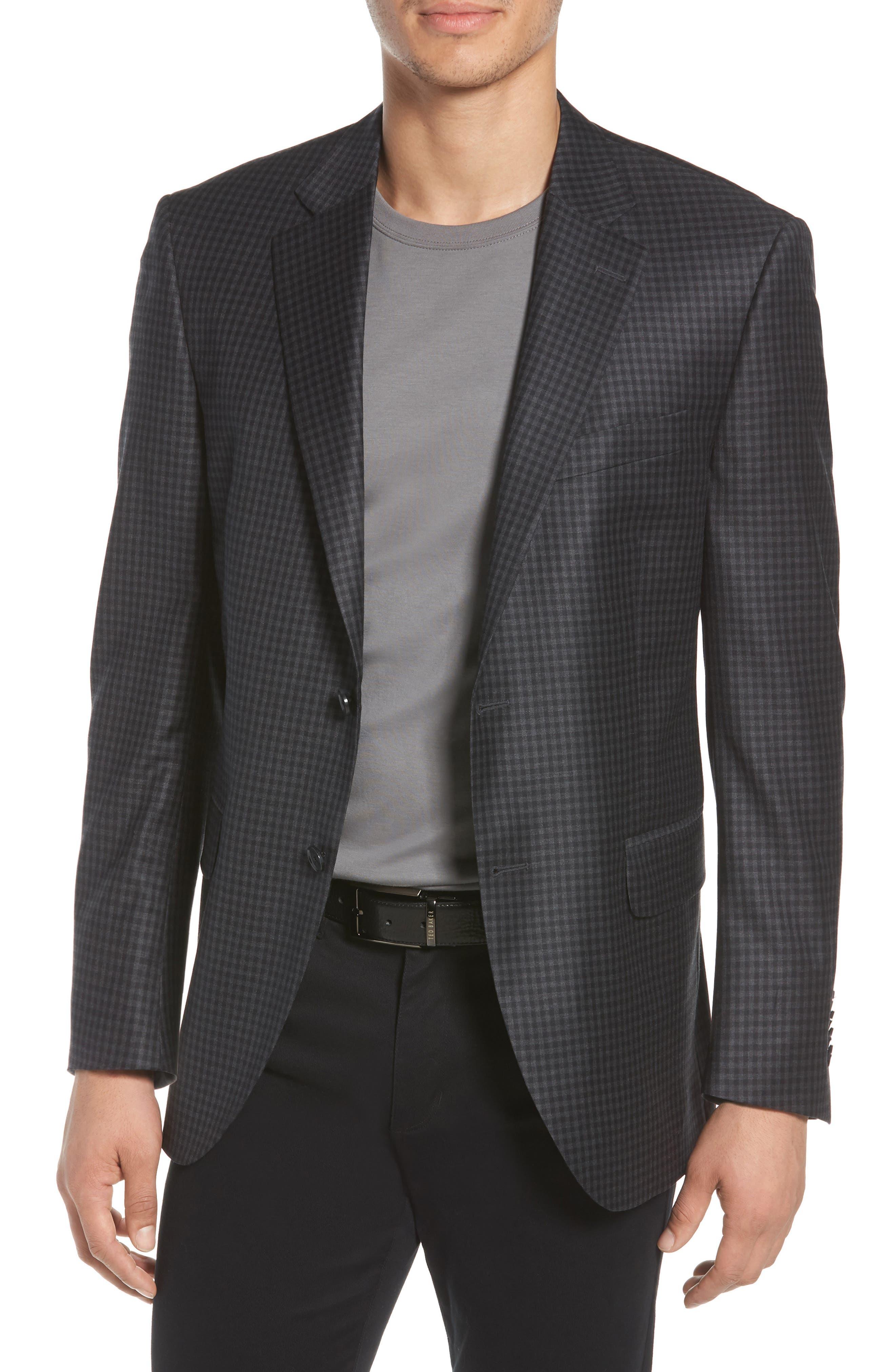 Classic Fit Check Wool Sport Coat,                             Main thumbnail 1, color,                             Charcoal