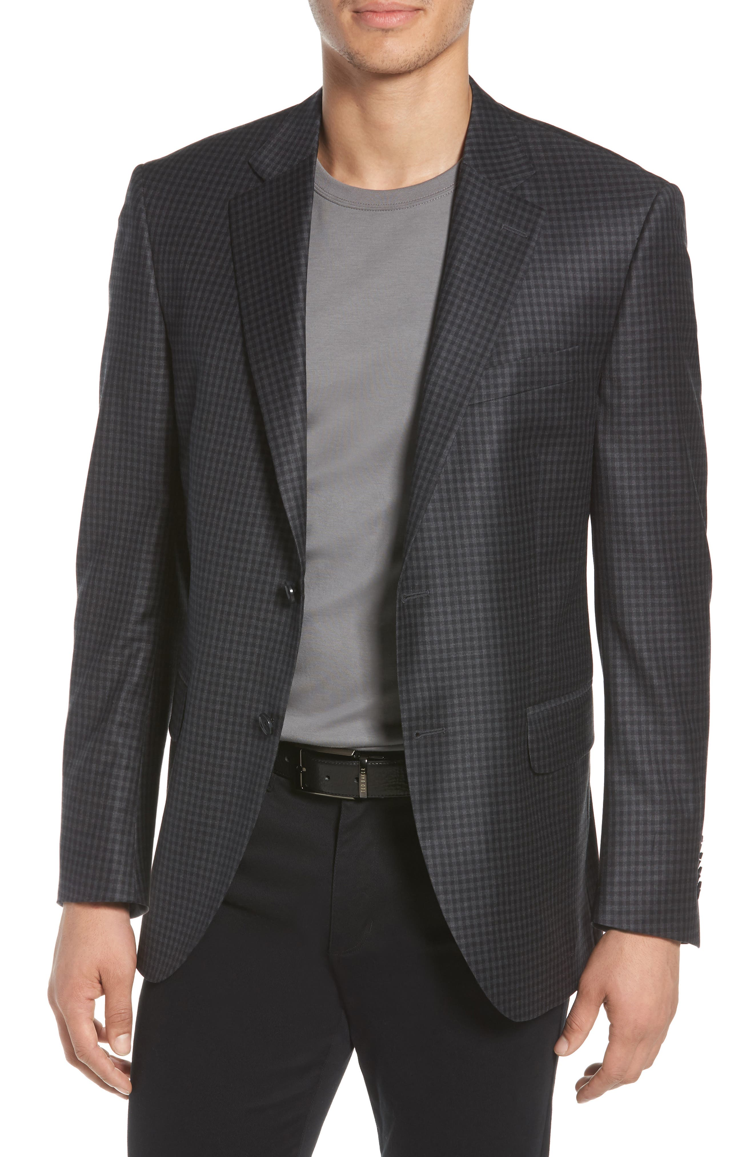 Classic Fit Check Wool Sport Coat,                         Main,                         color, Charcoal