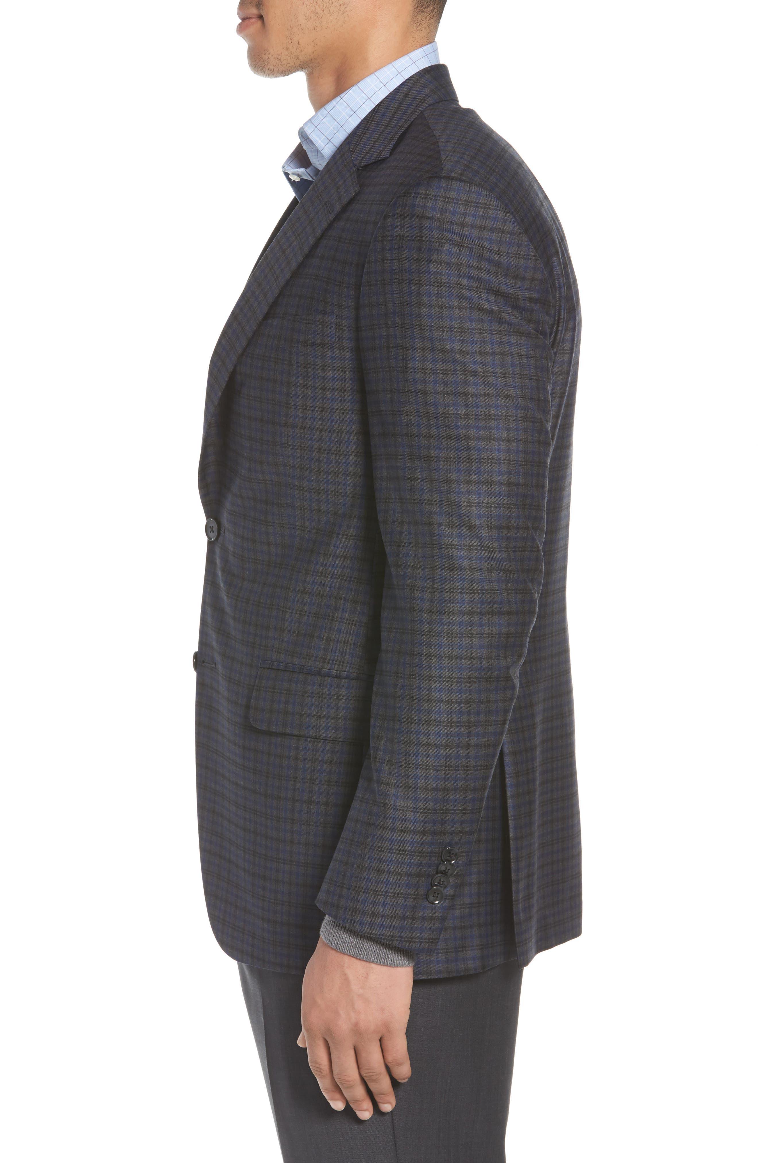 Classic Fit Windowpane Check Wool Sport Coat,                             Alternate thumbnail 3, color,                             Grey
