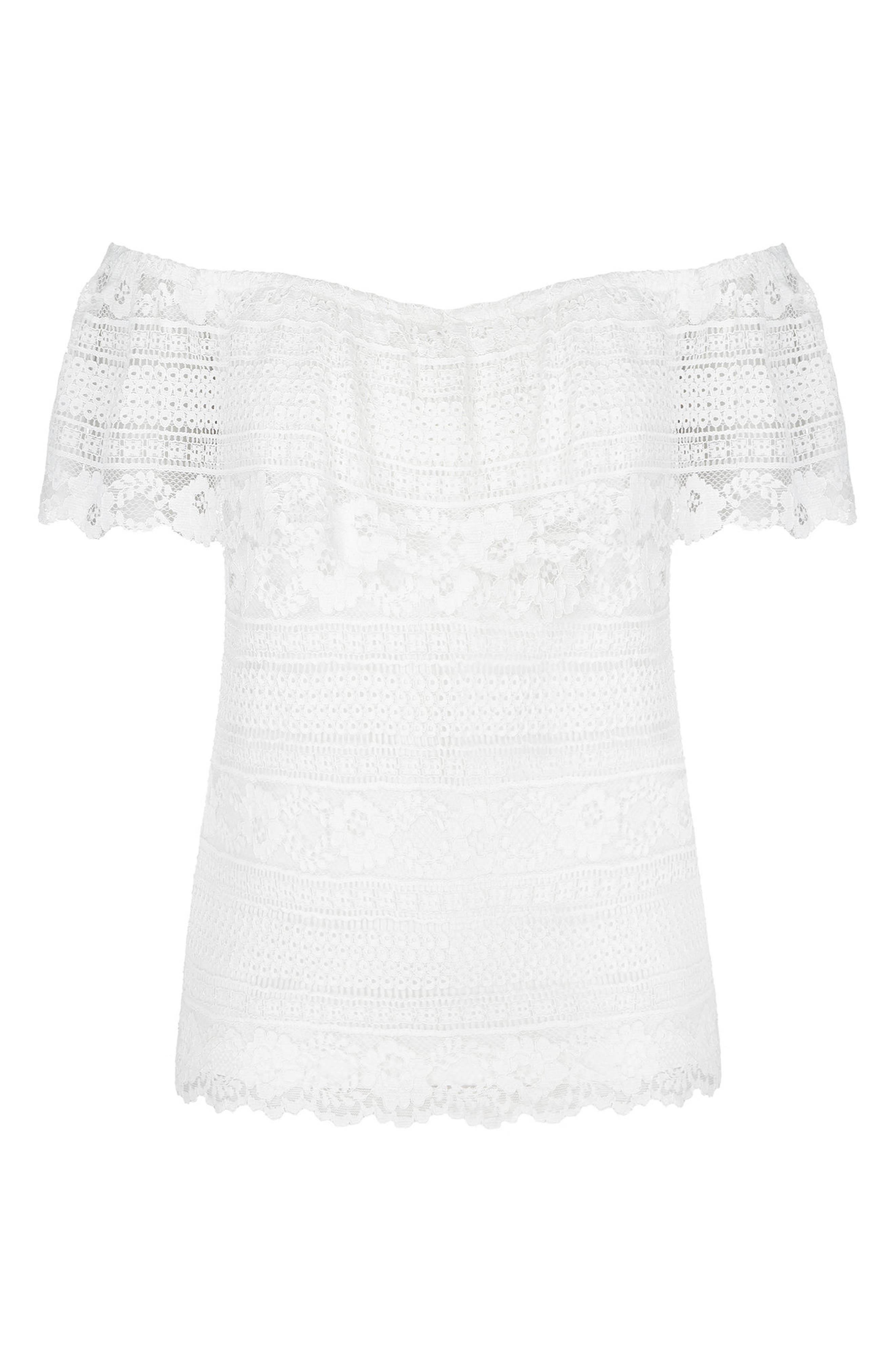 Summer Frill Lace Off the Shoulder Top,                             Alternate thumbnail 3, color,                             Ivory