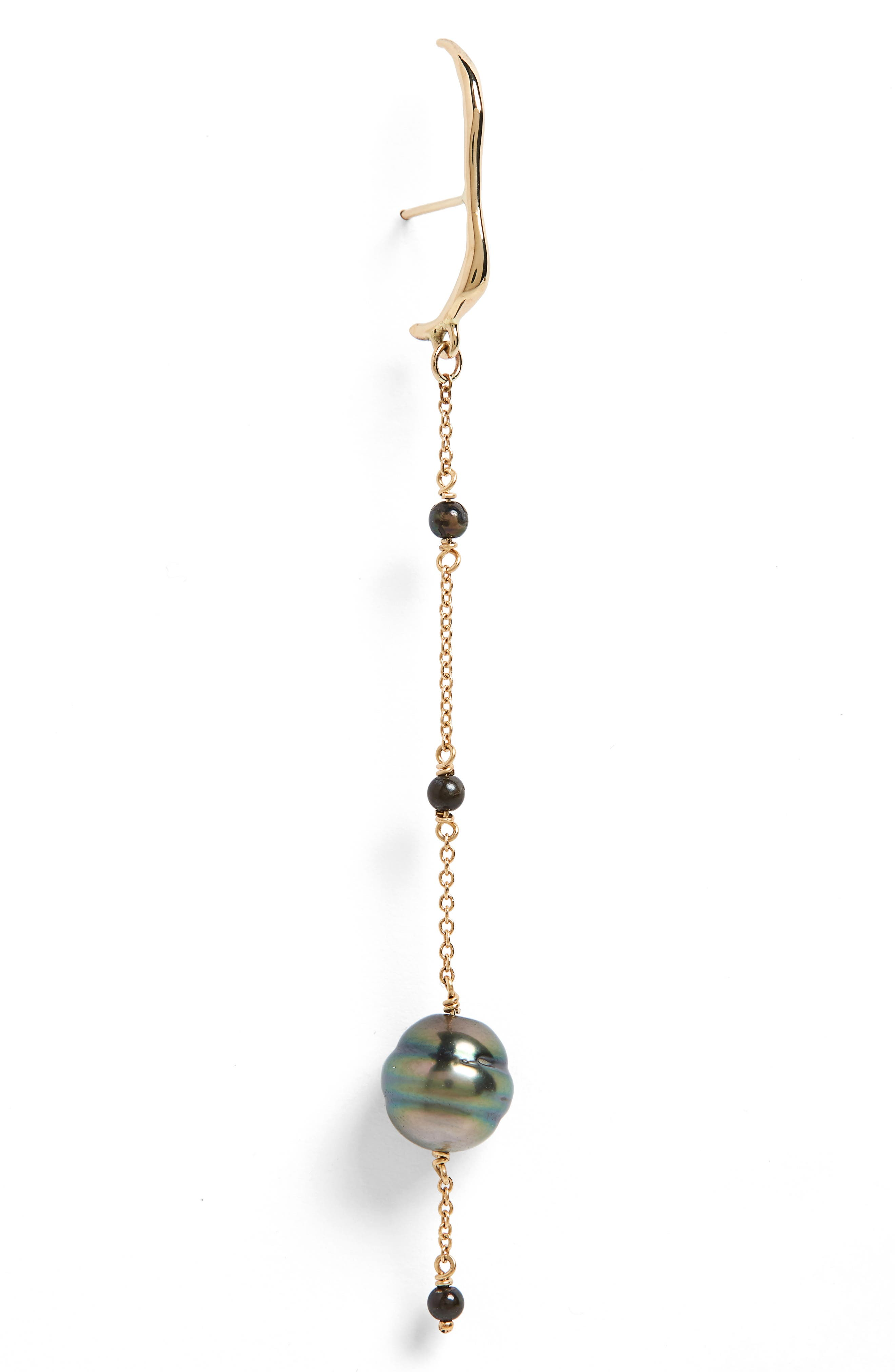 Aura Cultured Pearl Drop Earrings,                             Alternate thumbnail 3, color,                             Gold/ Black Pearl