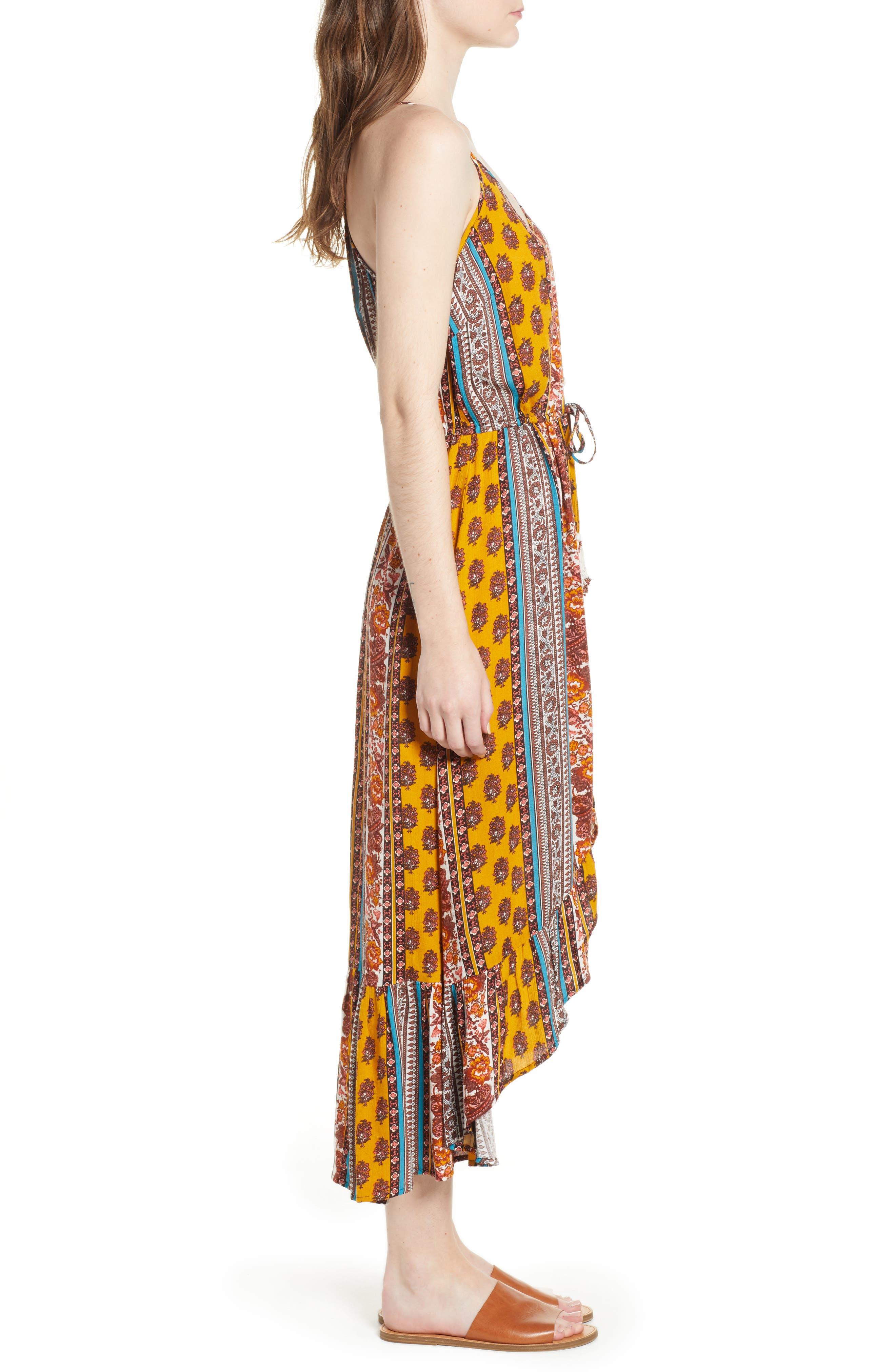 Geo Stripe High/Low Dress,                             Alternate thumbnail 3, color,                             Gold/ Teal