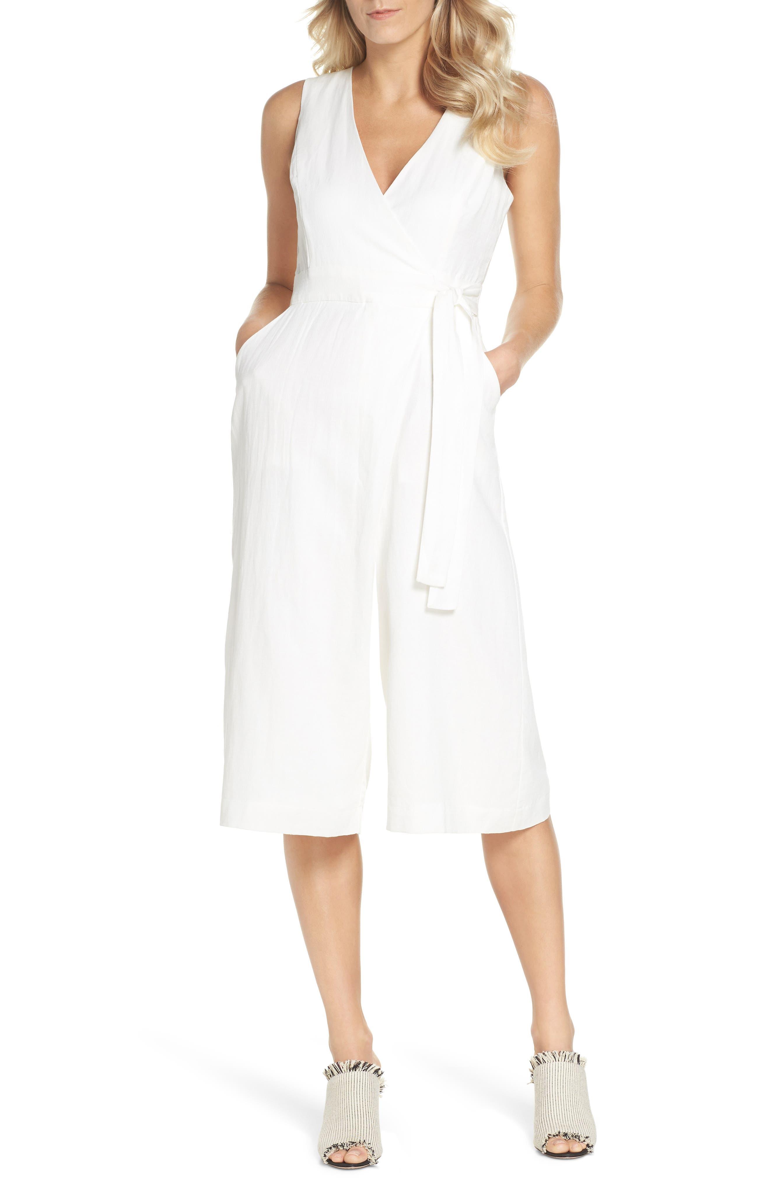 Adelyn Rae Landra Wrap Front Cotton & Linen Culotte Jumpsuit