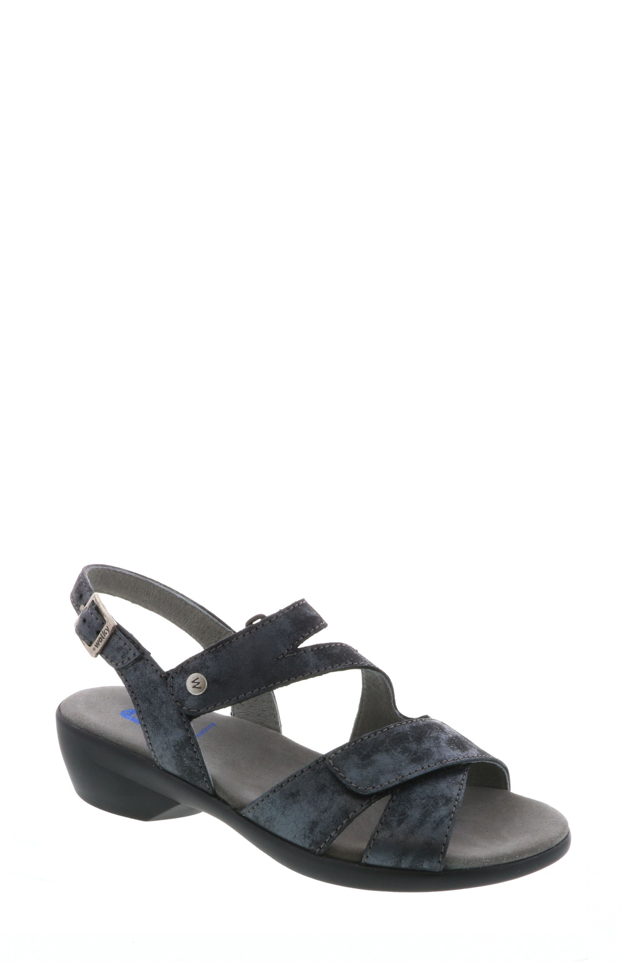 Fria Sandal,                         Main,                         color, Black Nubuck