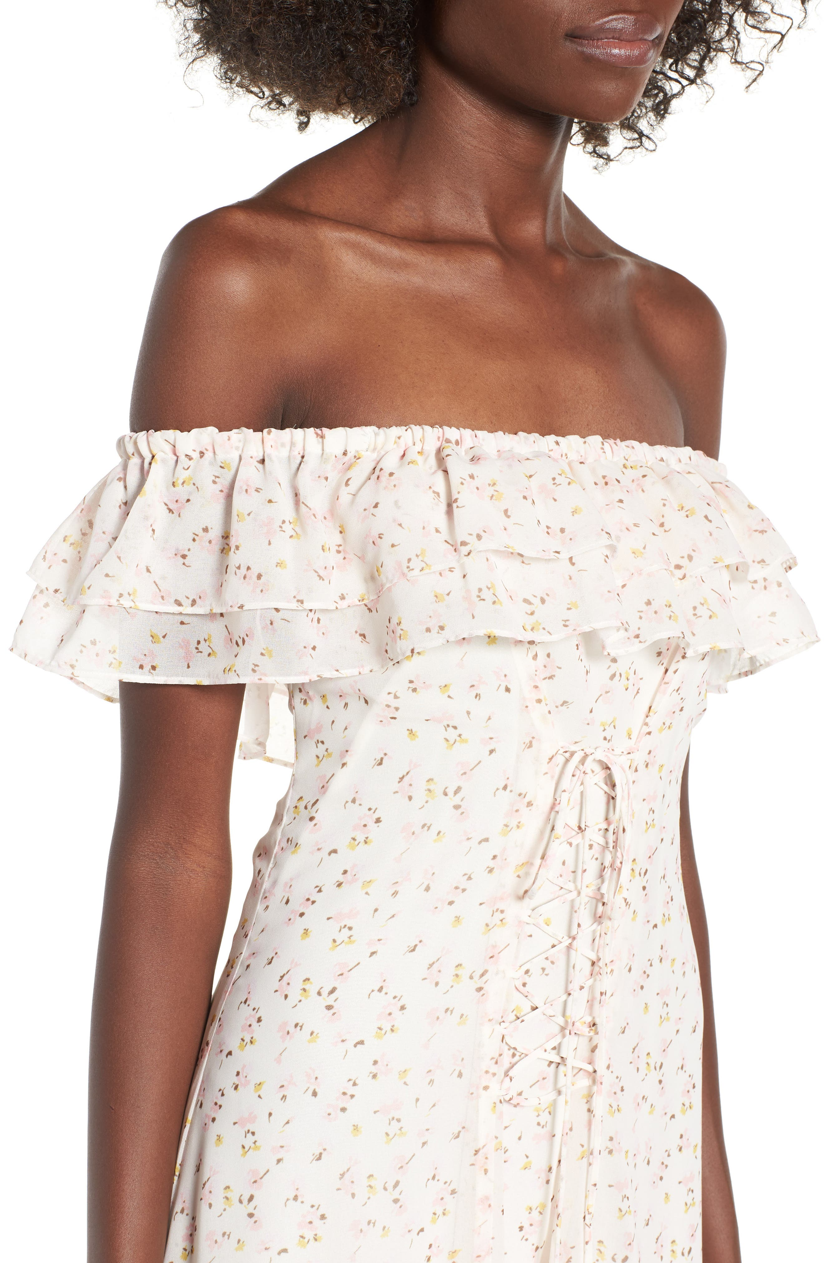 Florence Lace Off the Shoulder Midi Dress,                             Alternate thumbnail 6, color,                             Ivory Ditzy