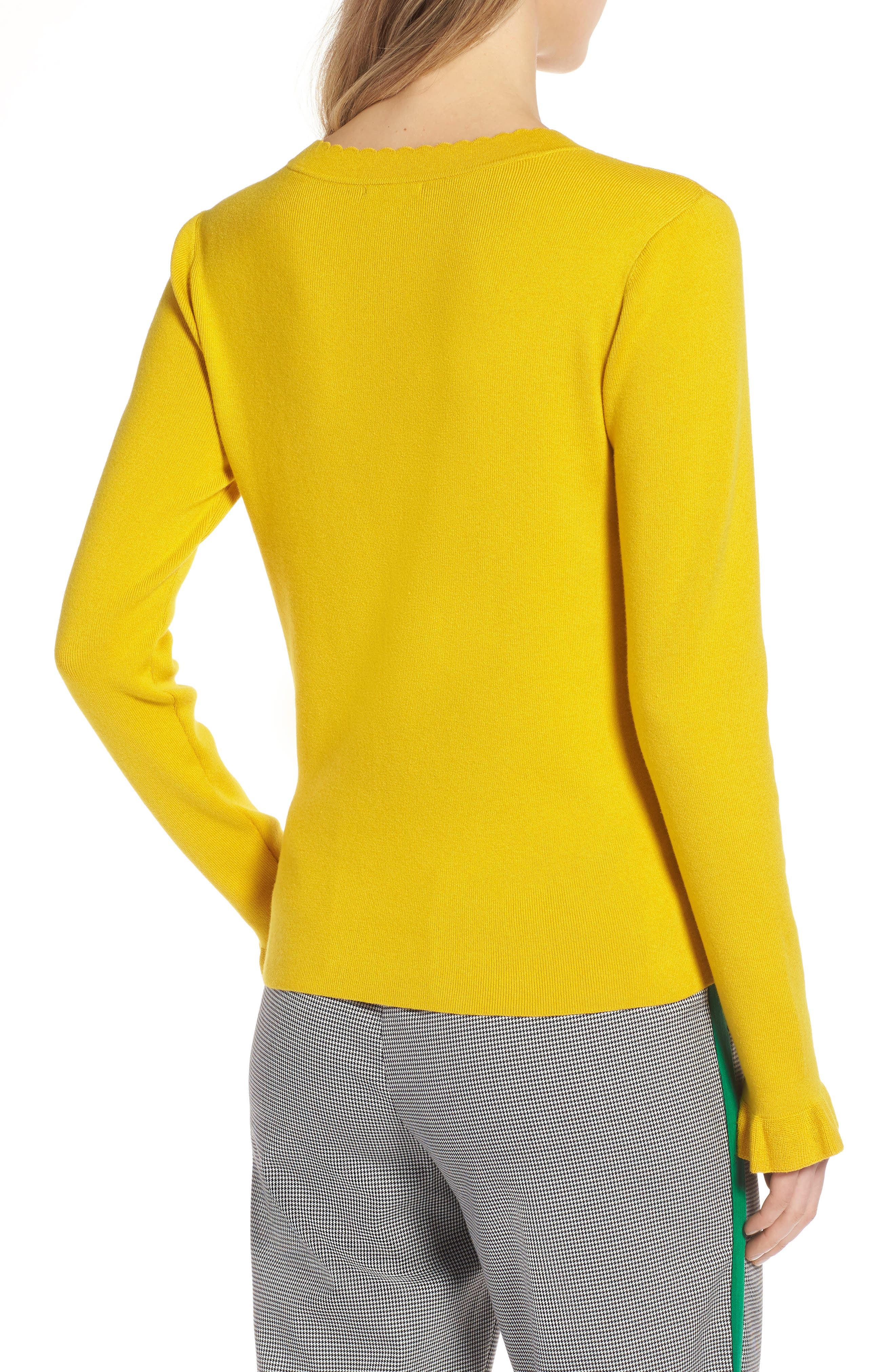 Scallop Trim Sweater,                             Alternate thumbnail 2, color,                             Yellow Sulphur