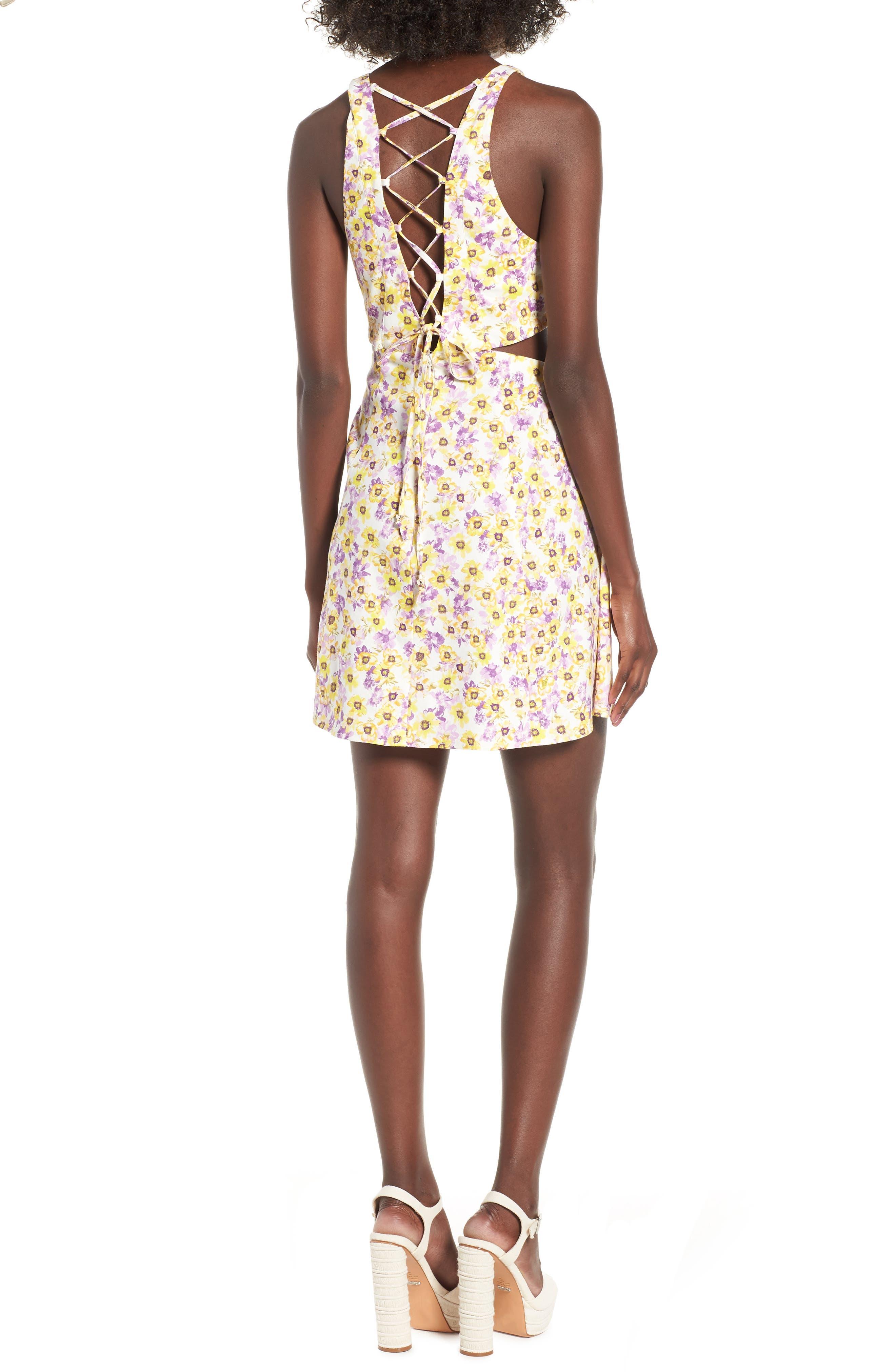 Rayanna Cutout Minidress,                             Alternate thumbnail 2, color,                             Yellow Garden
