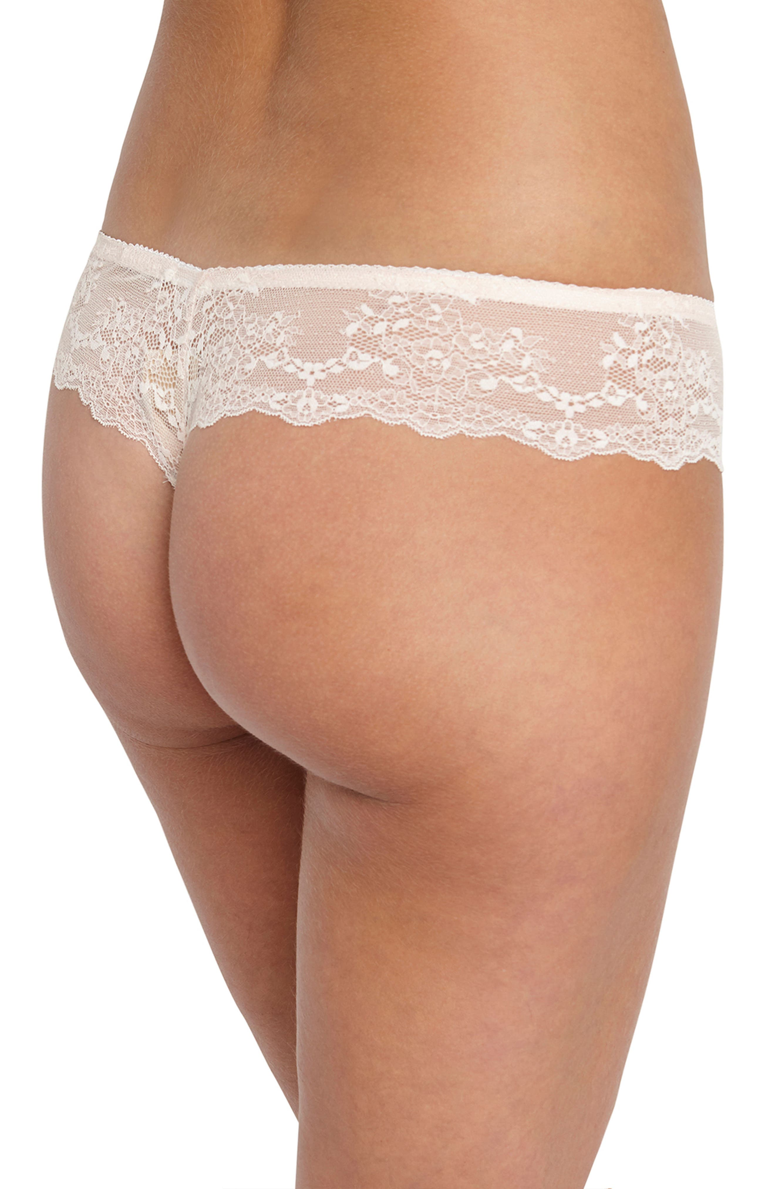 Lily Lace Silk Thong,                             Alternate thumbnail 2, color,                             Ivory Floral Print