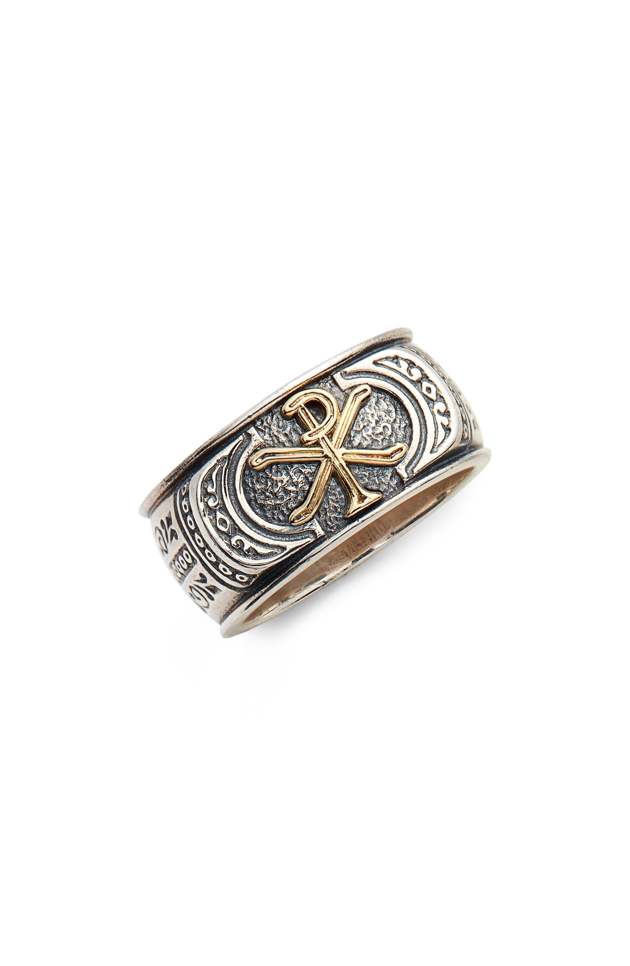 Stavros Band Ring,                             Main thumbnail 1, color,                             Silver/ Gold