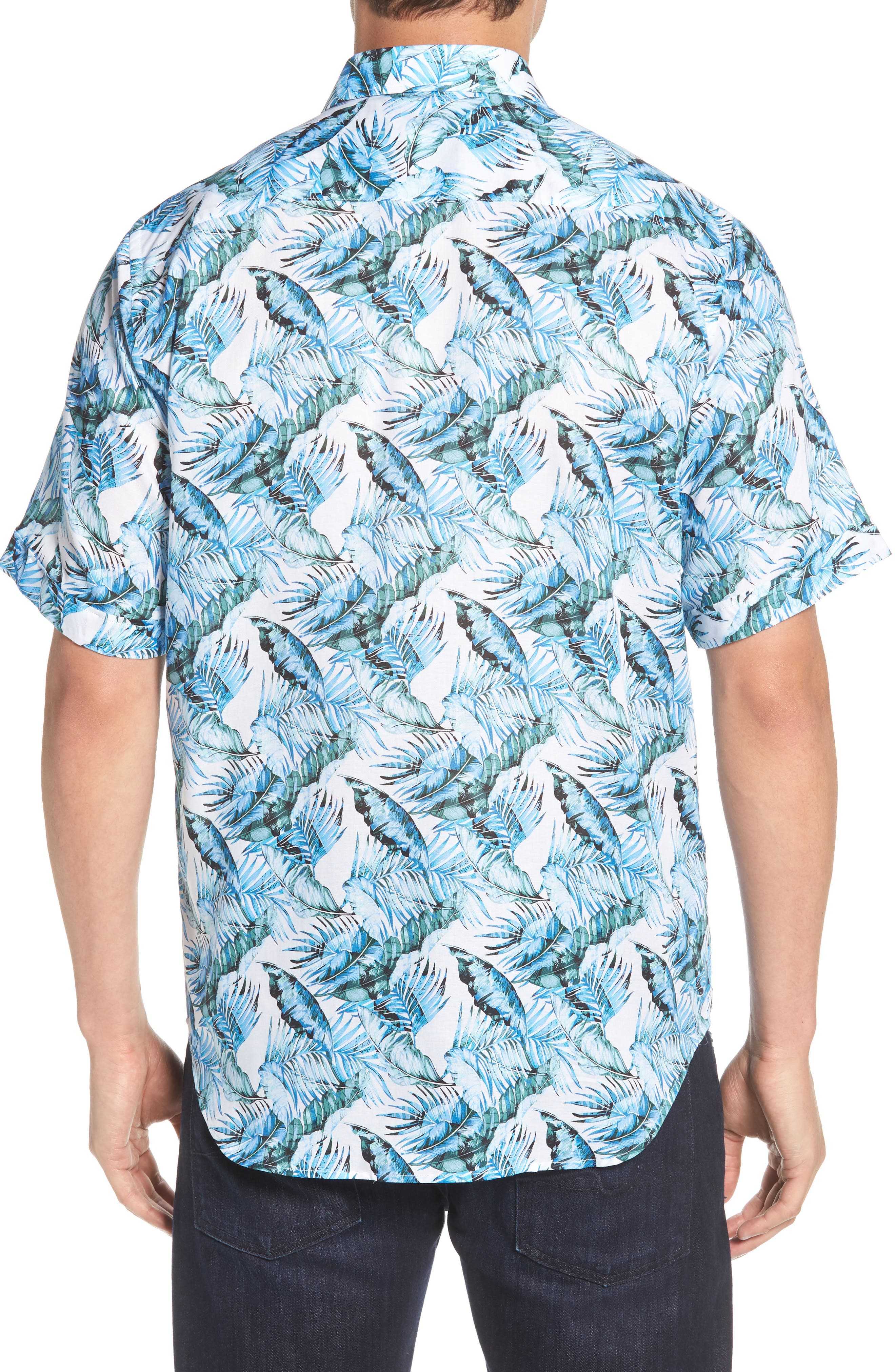 Classic Fit Palm Print Sport Shirt,                             Alternate thumbnail 3, color,                             Turquoise