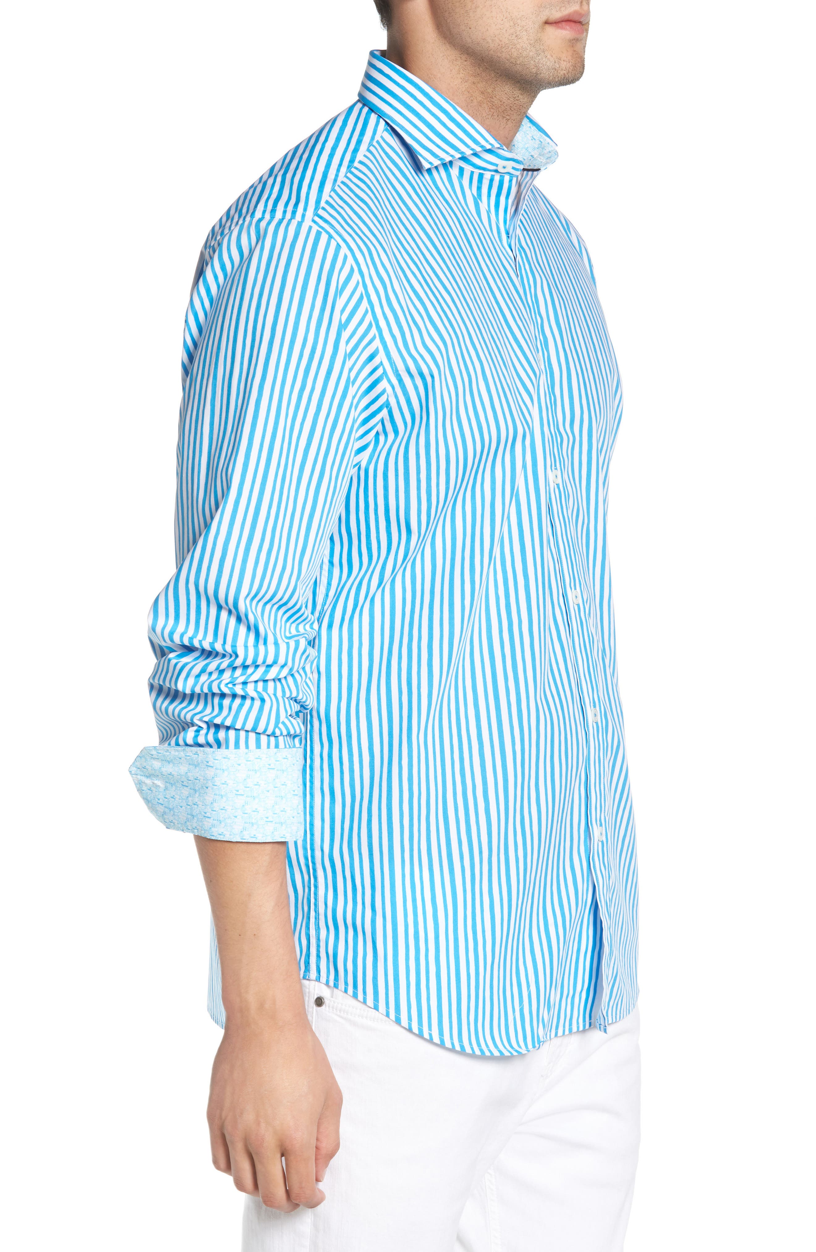Classic Fit Wavy Stripe Sport Shirt,                             Alternate thumbnail 4, color,                             Turquoise
