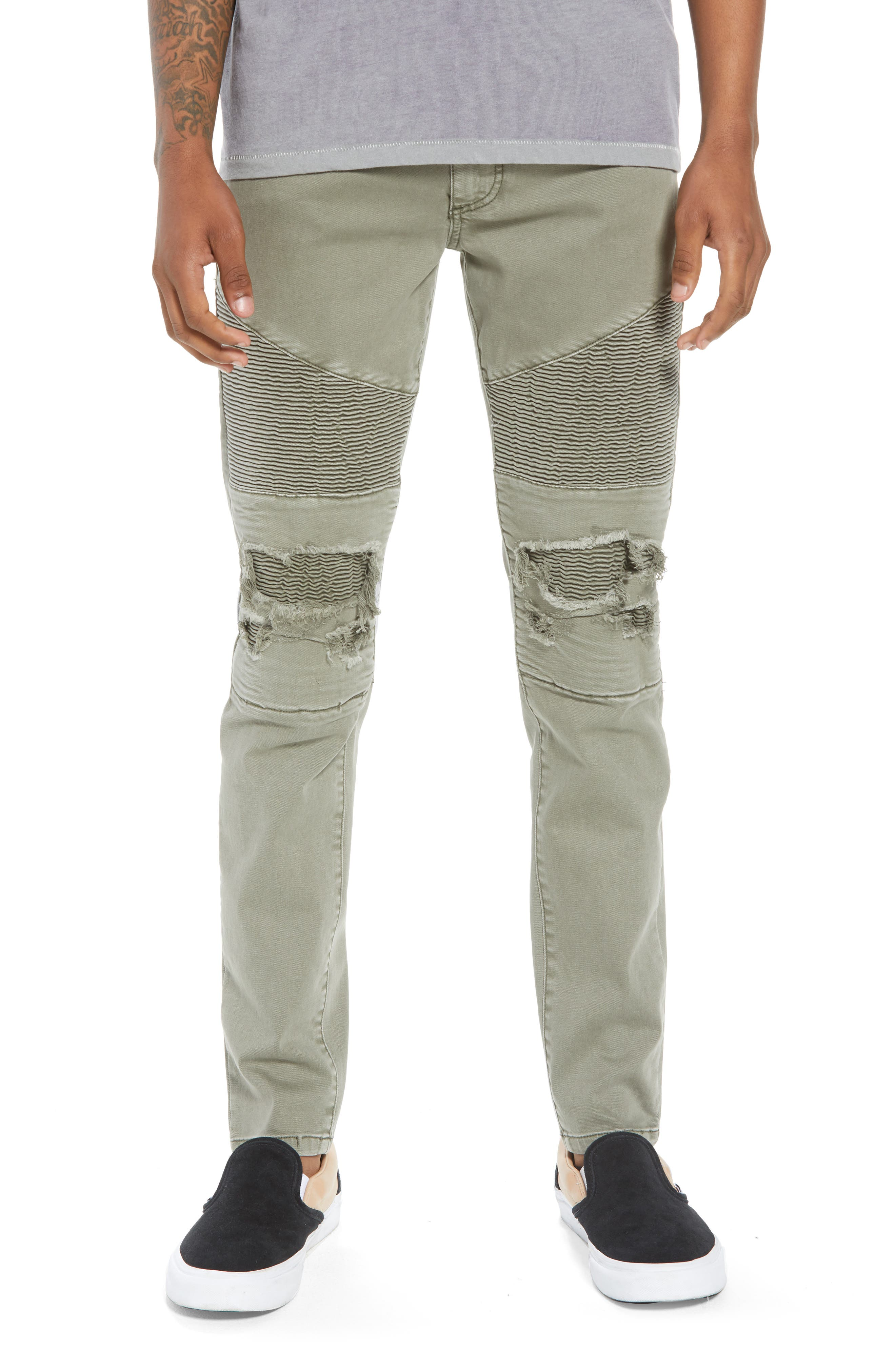 NXP Combination Moto Skinny Moto Jeans in Khaki