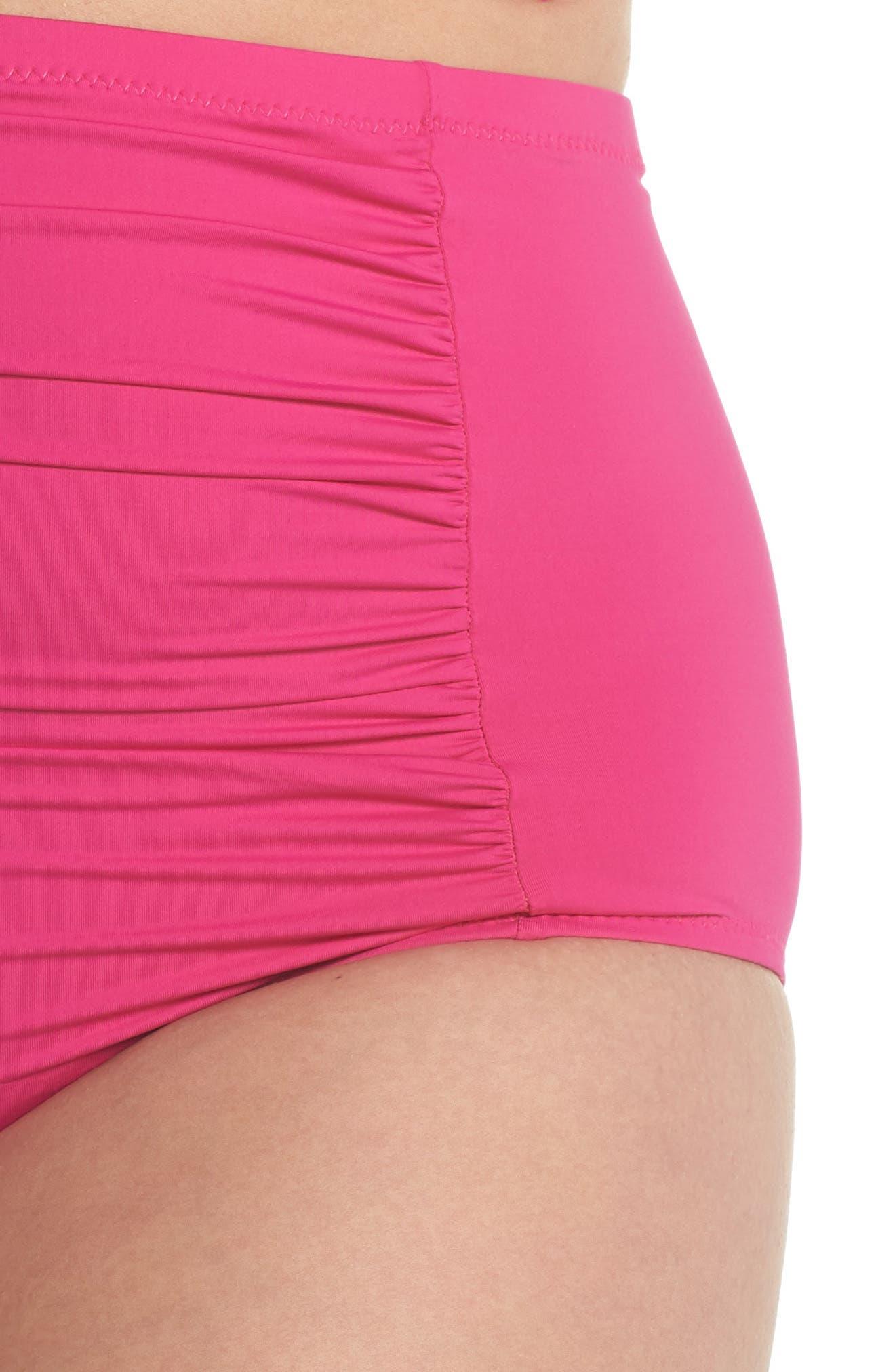 Color Code High Waist Bikini Bottoms,                             Alternate thumbnail 3, color,                             Flamingo