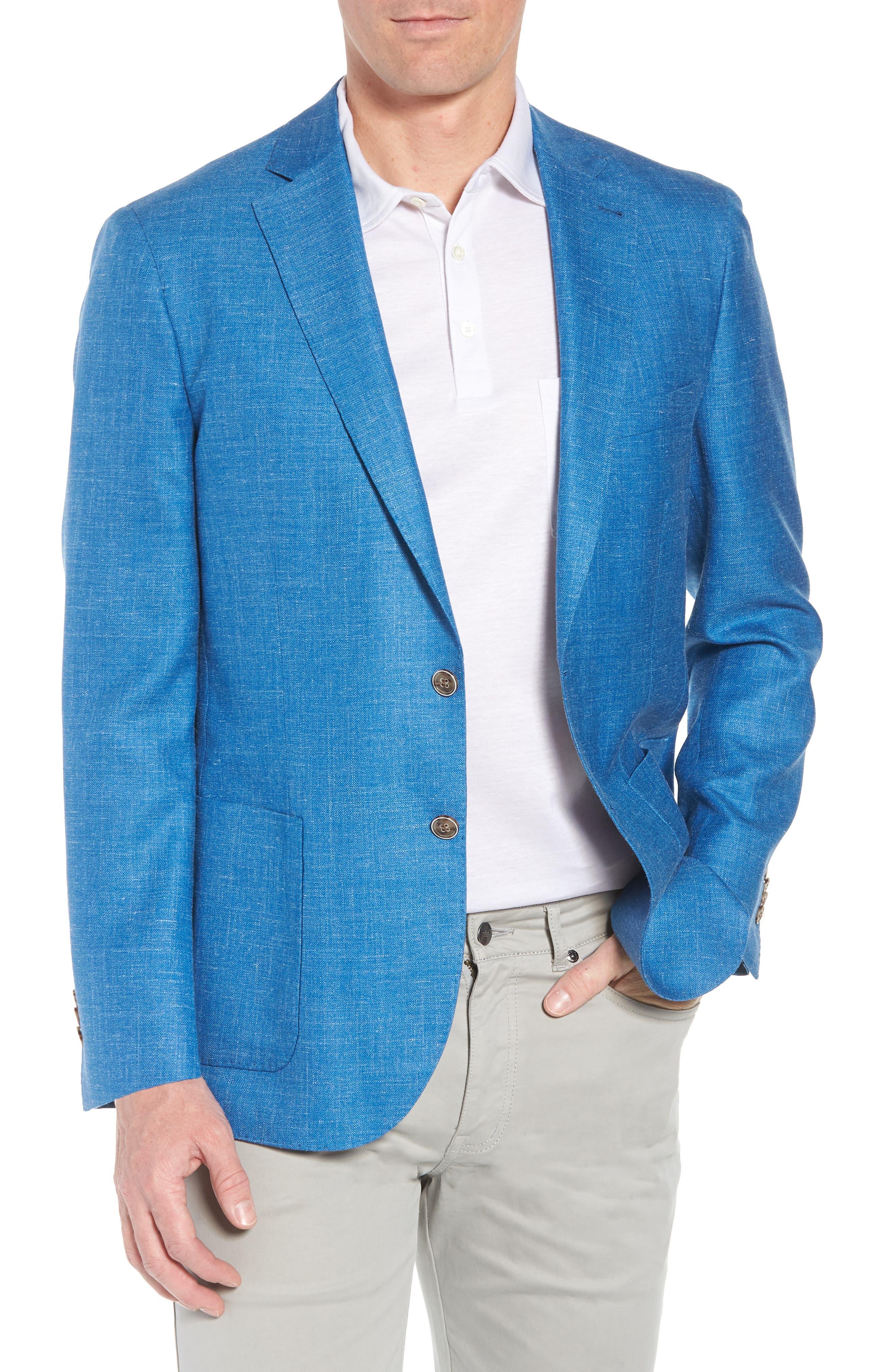 Crown Wool & Silk Blend Blazer,                         Main,                         color, Blue Fish