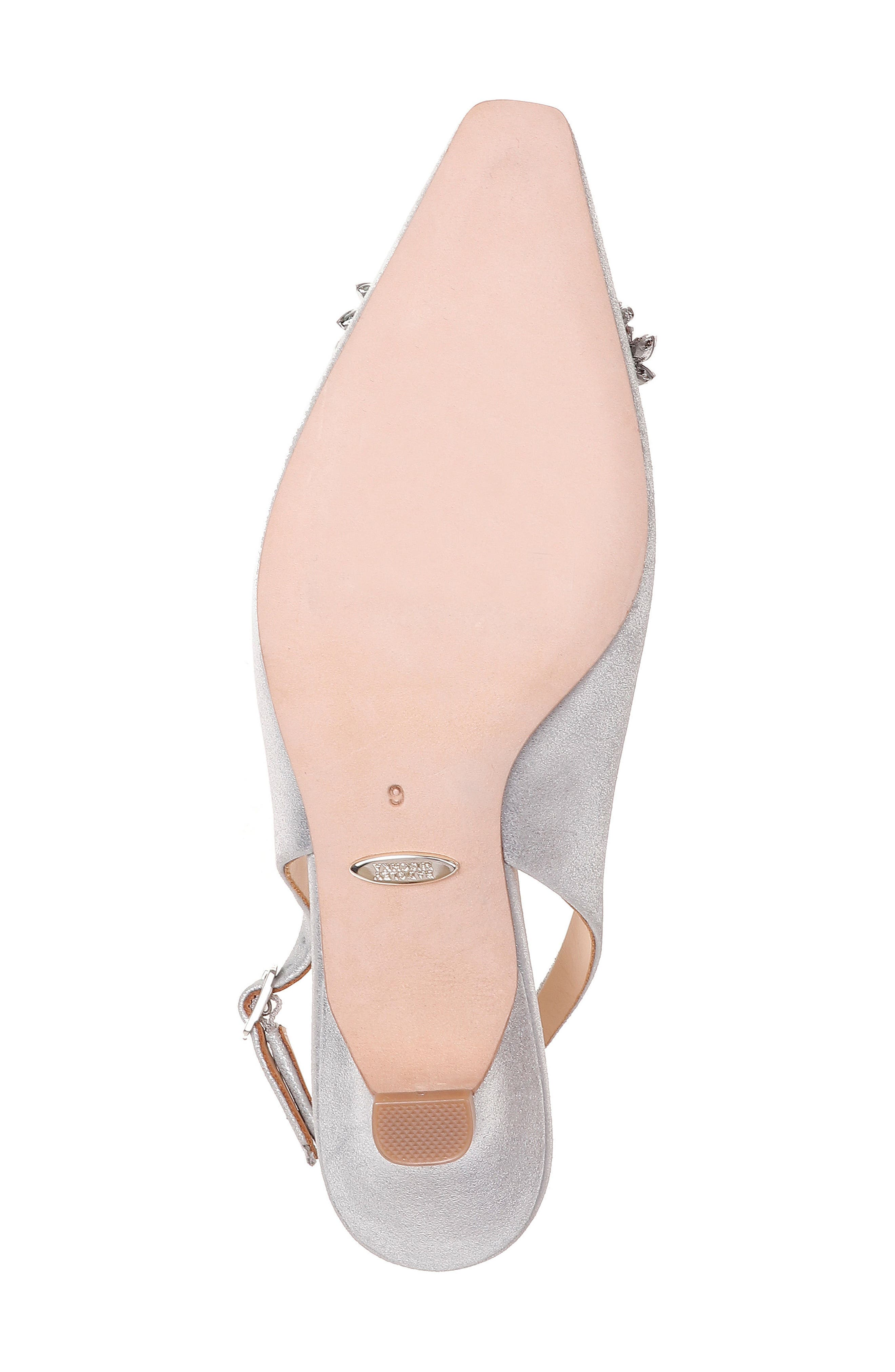 Page Slingback Pump,                             Alternate thumbnail 6, color,                             Silver Metallic Suede