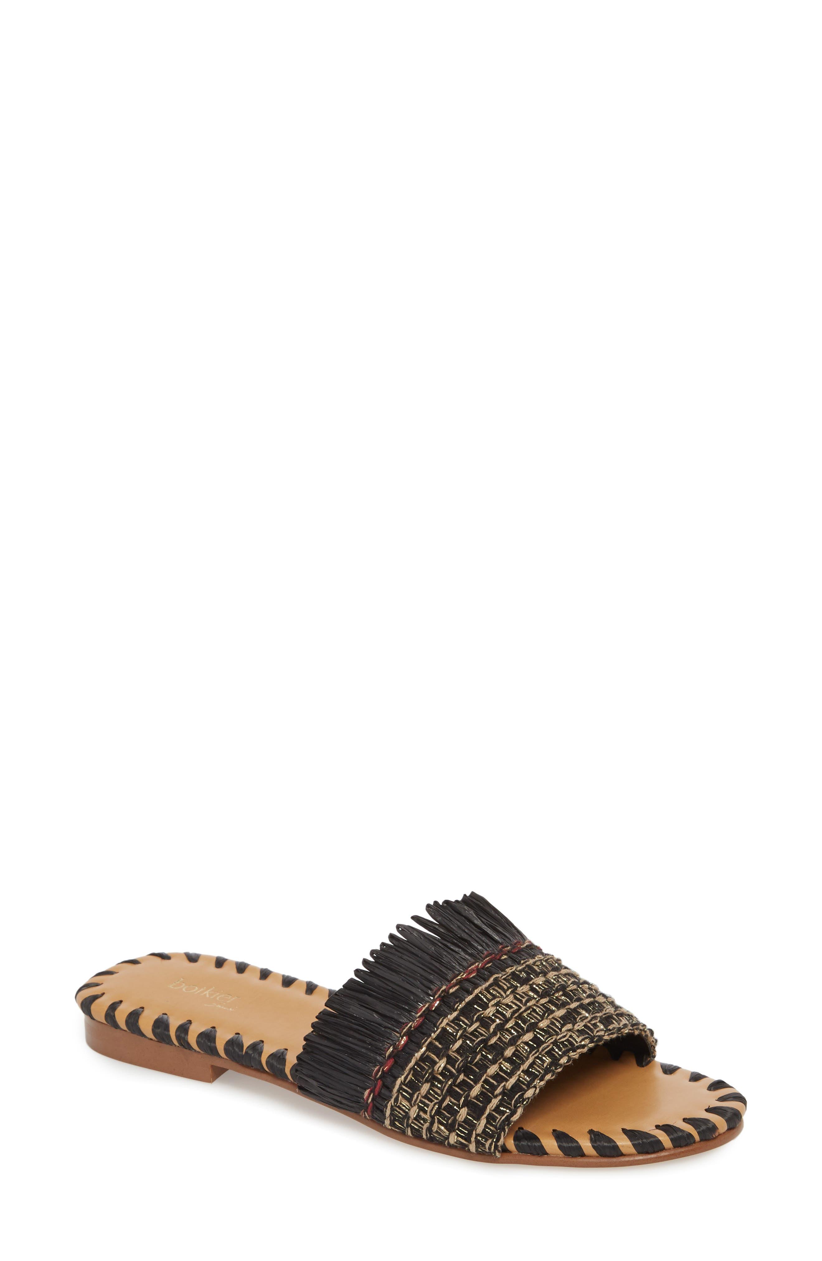 Bailee Slide Sandal,                             Main thumbnail 1, color,                             Black Fabric