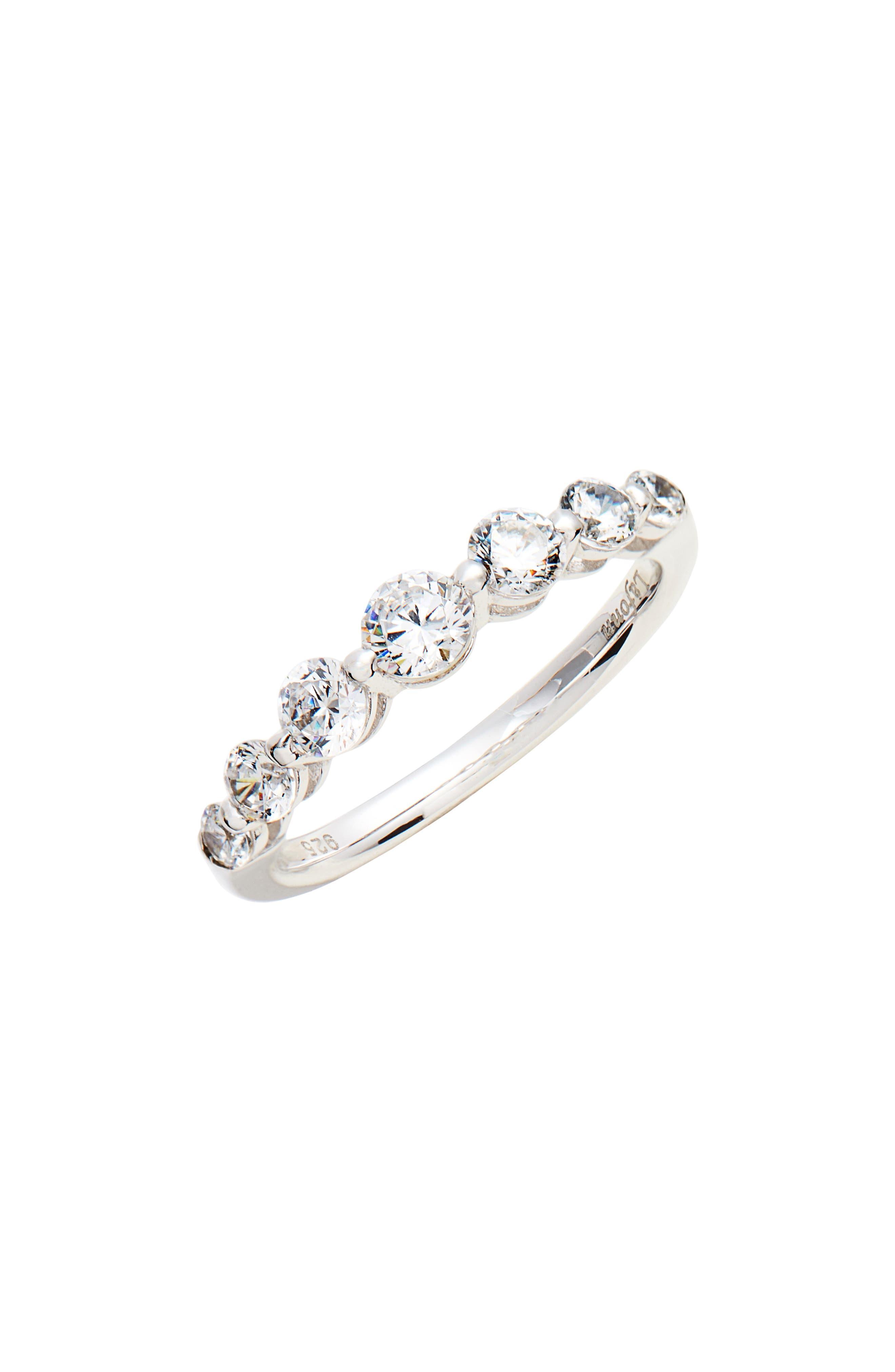 7 Symbols of Joy Ring,                             Main thumbnail 1, color,                             Silver/ Clear