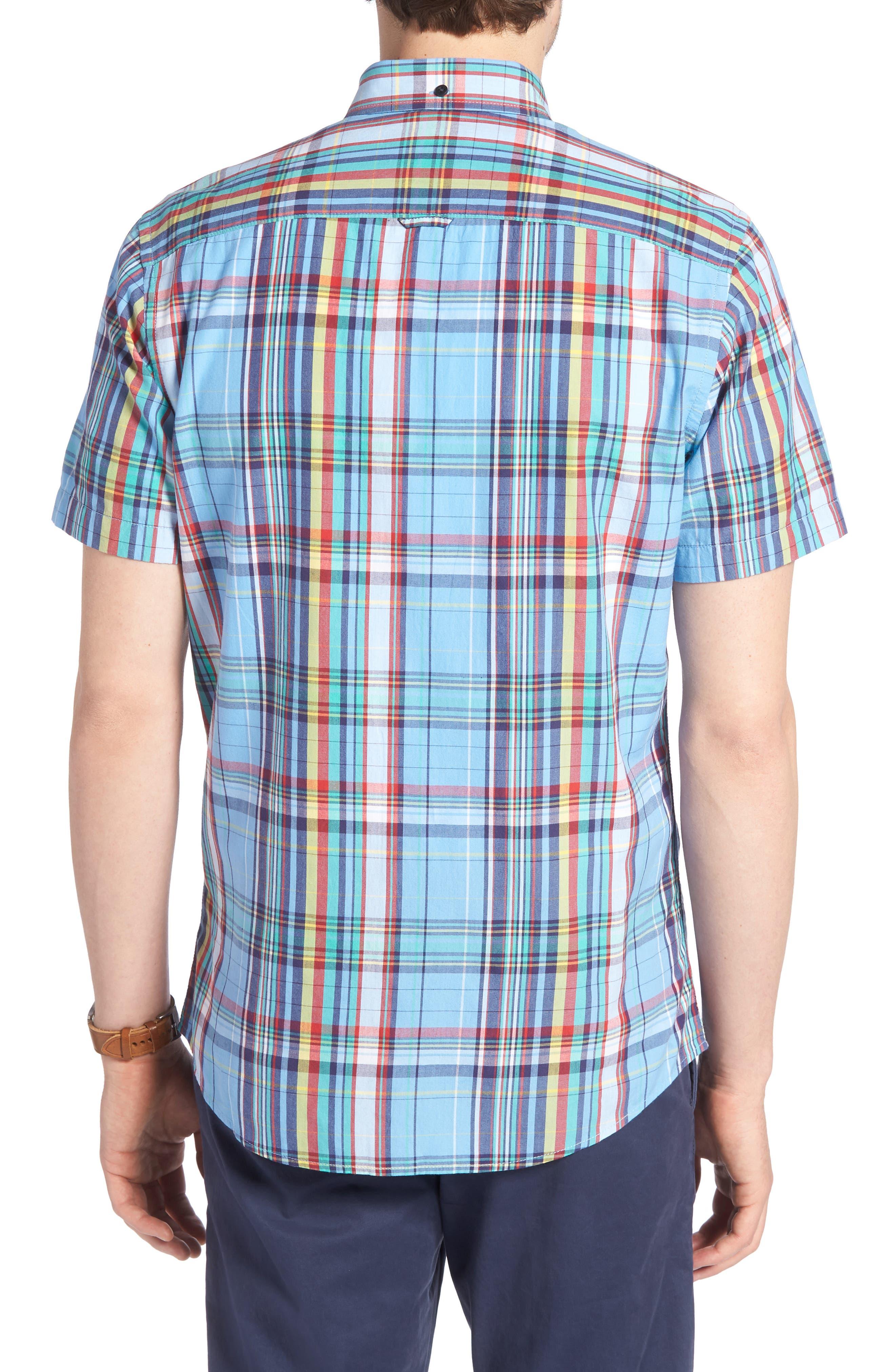 Ivy Trim Fit Madras Plaid Sport Shirt,                             Alternate thumbnail 3, color,                             Blue Chambray Multi Plaid