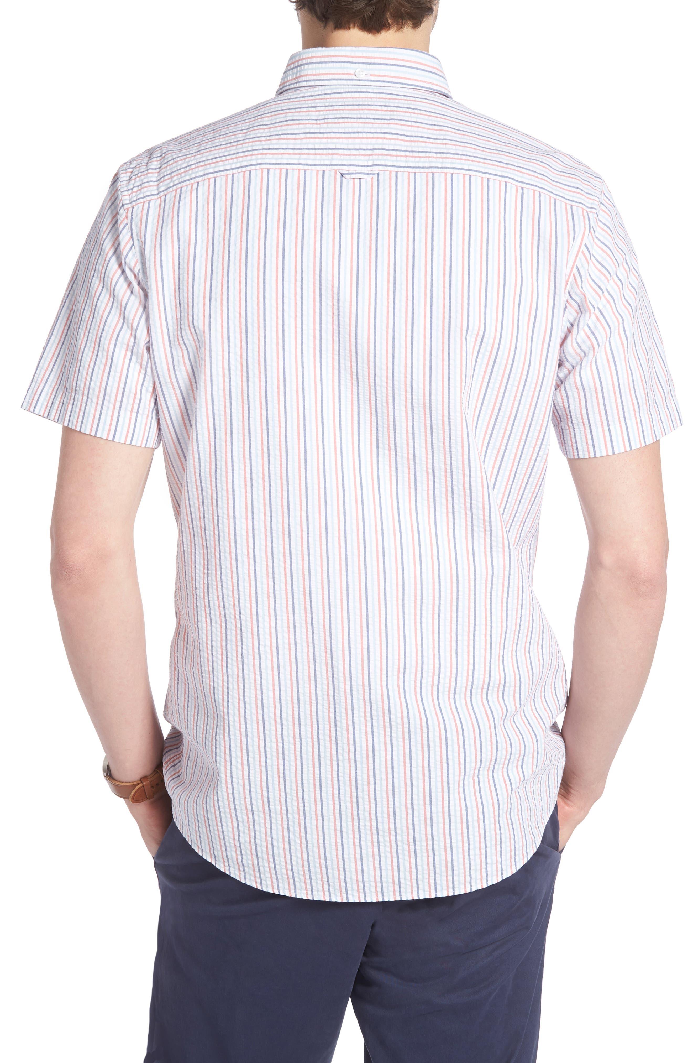 Trim Fit Seersucker Short Sleeve Sport Shirt,                             Alternate thumbnail 3, color,                             White Multi Pencil Stripe