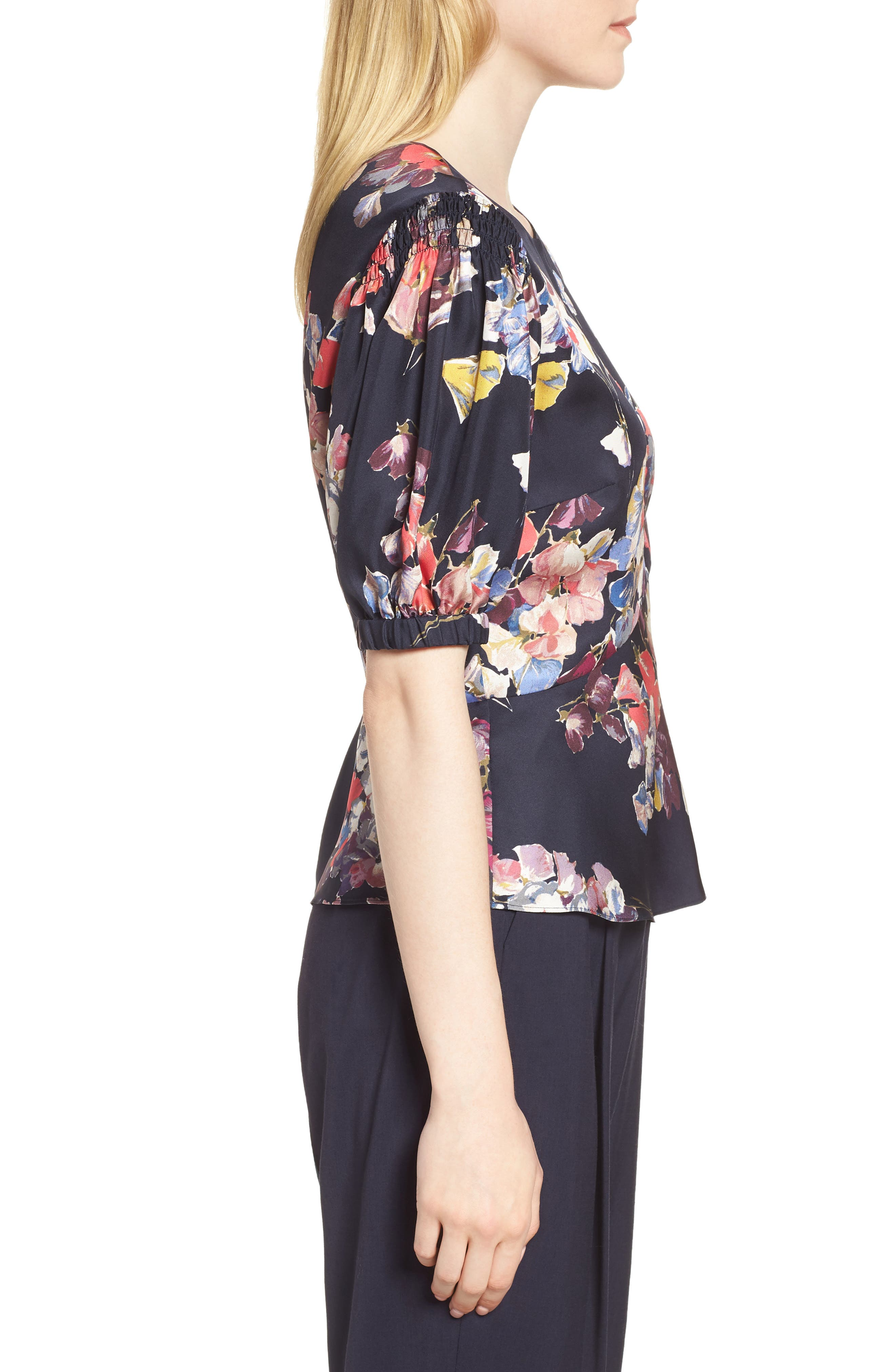 Puffed Sleeve Print Top,                             Alternate thumbnail 3, color,                             Navy Night Sheridan Floral