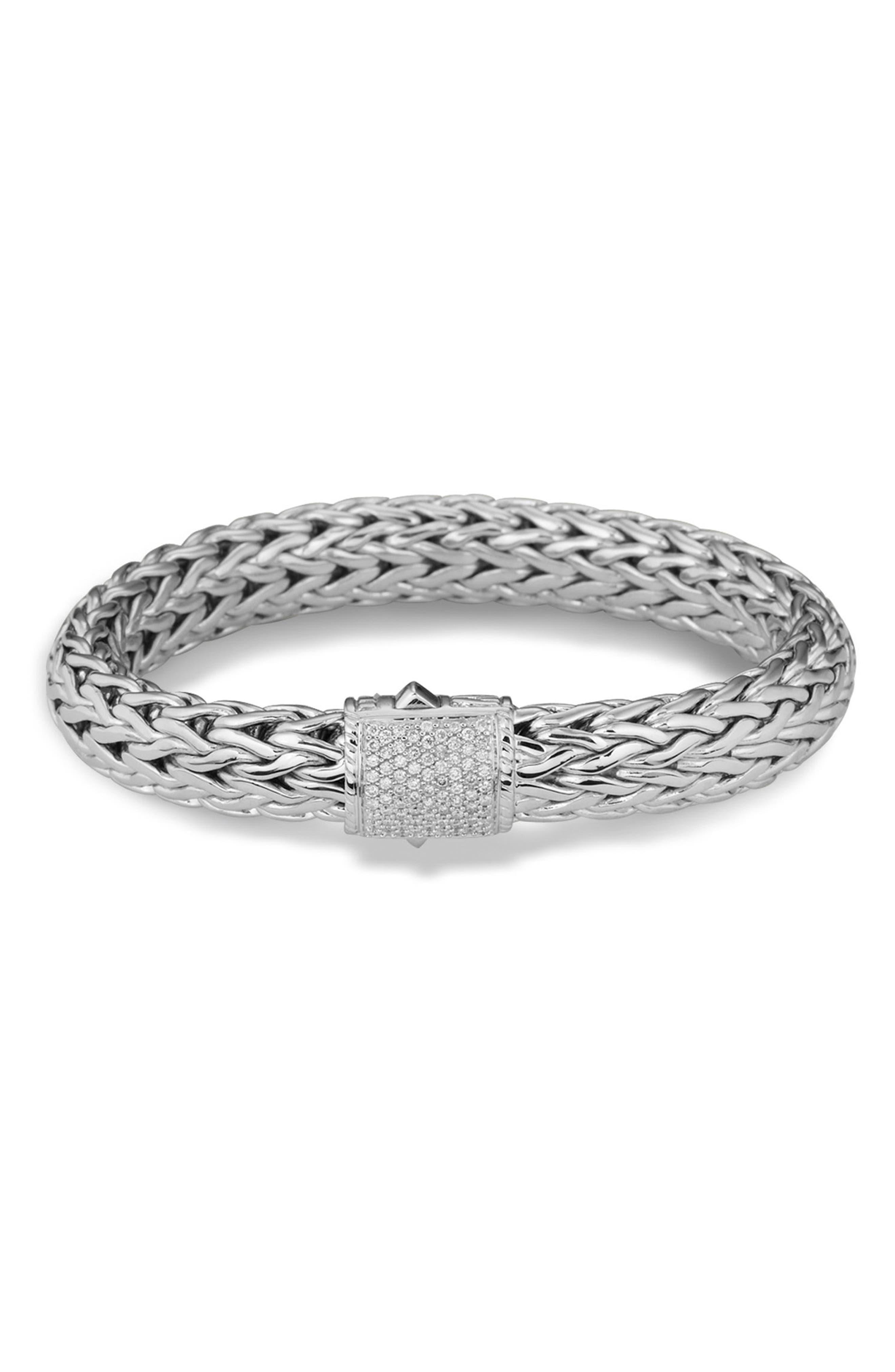 John Hardy Mens Classic Chain Silver Diamond Pave Flat Chain Bracelet - Medium PorhJH0Gcf