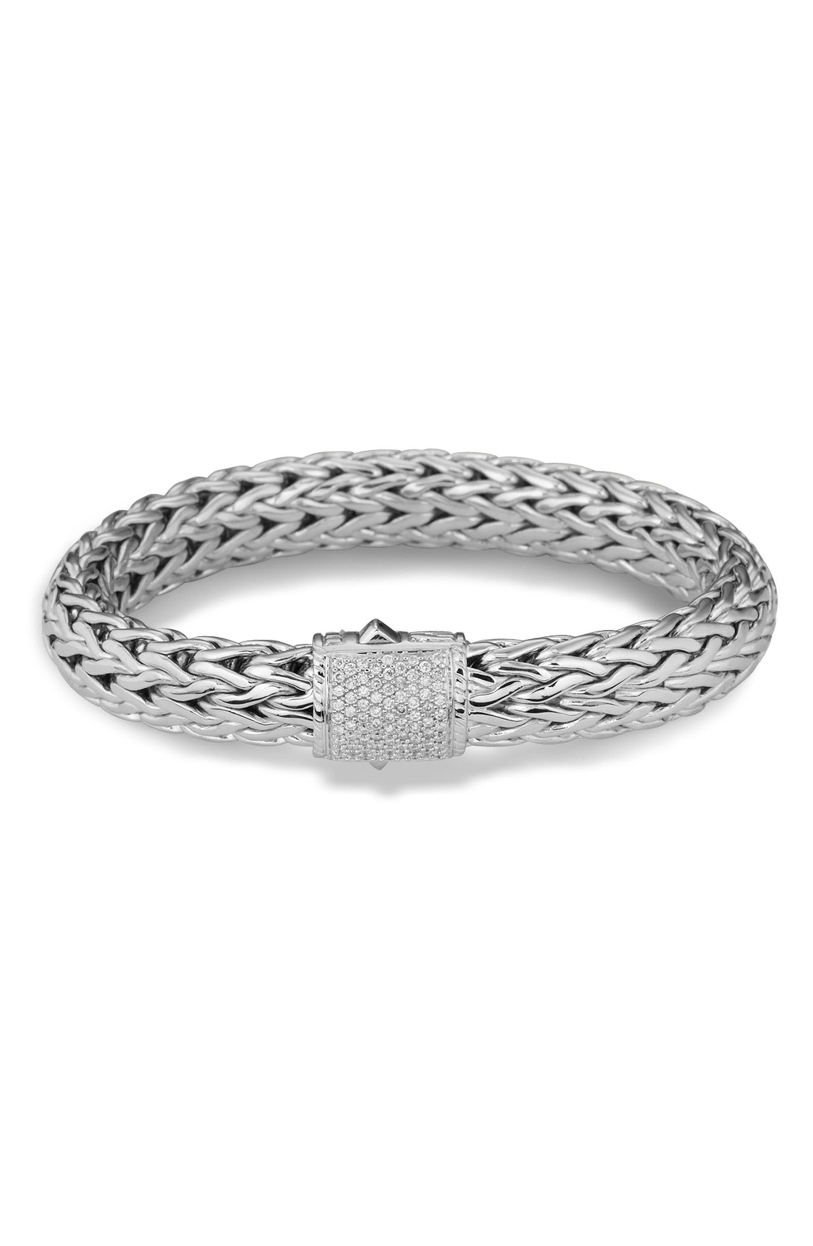 Classic Chain Bracelet with Pavé Diamonds,                         Main,                         color, Silver/ Diamond