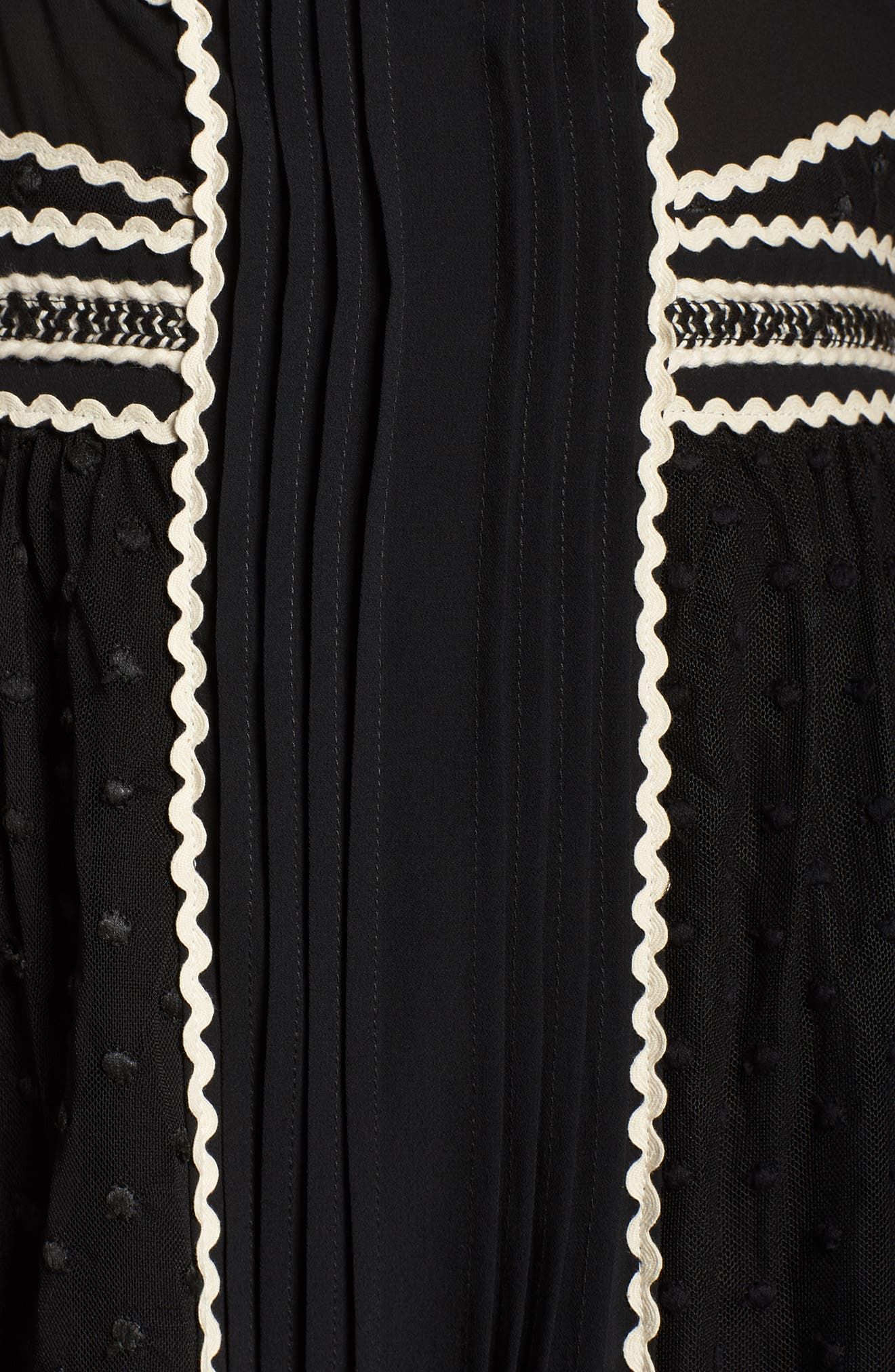 Embroidered Dot Gown,                             Alternate thumbnail 6, color,                             Black/ Ivory