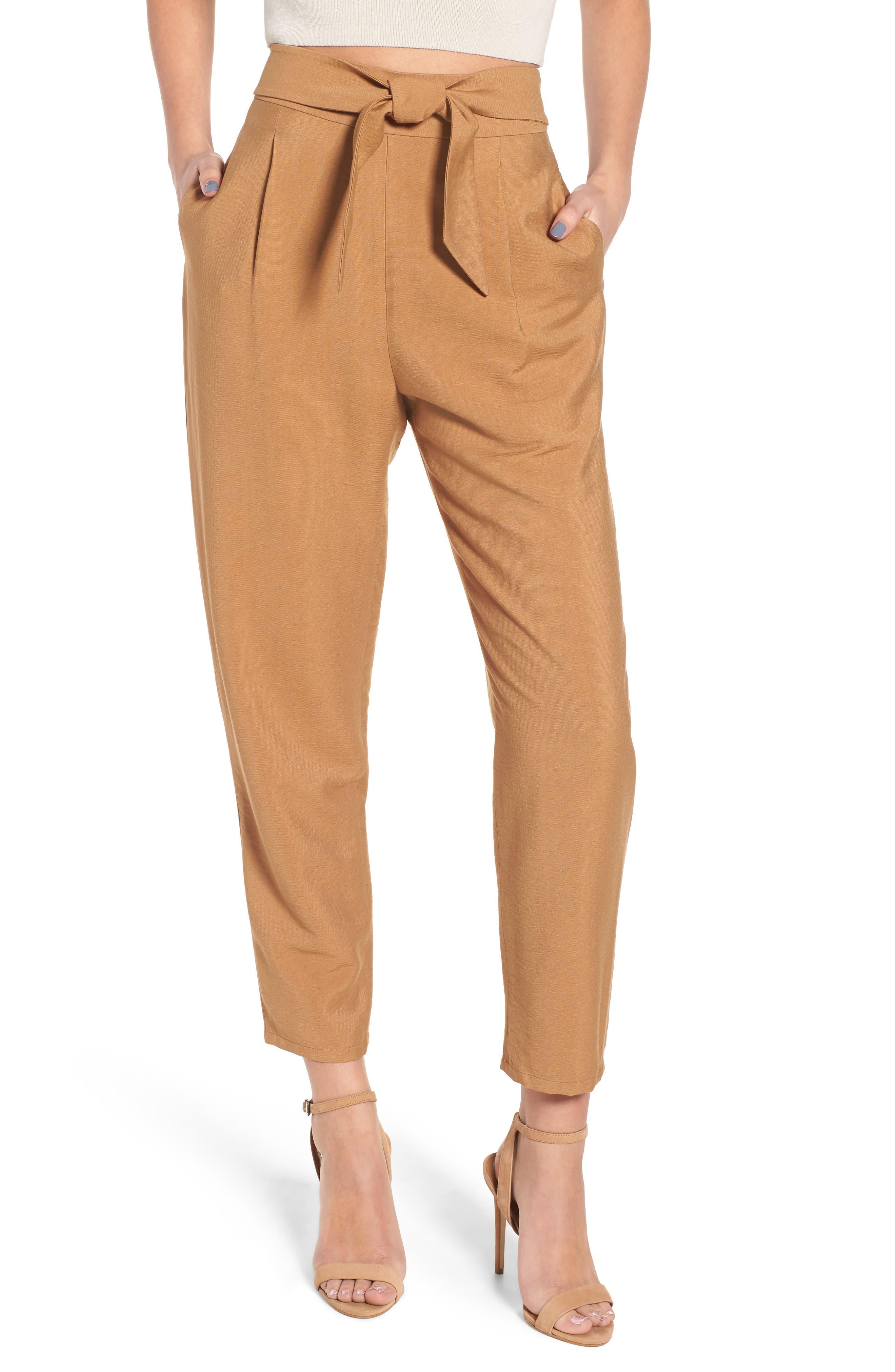 Tie Front Pant, Main, color, Tan Dale